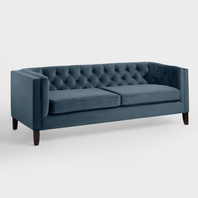 Daphne Blue Velvet Sofa $230