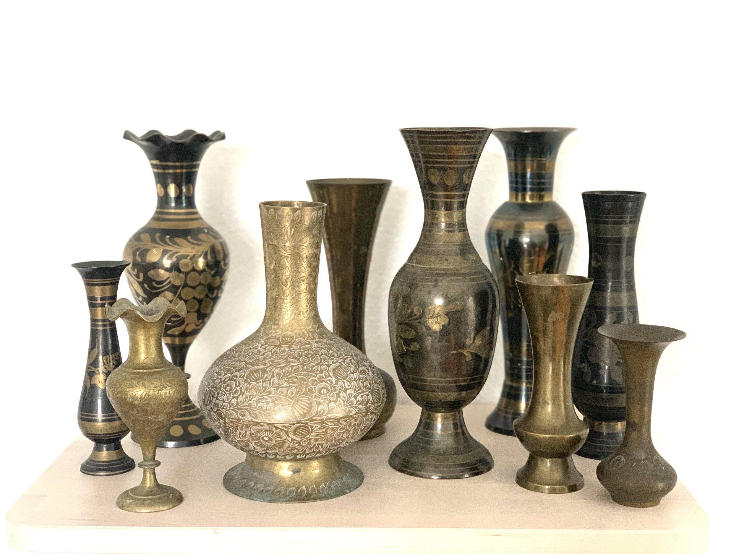 Brass Vintage Vases L $4, SM $2