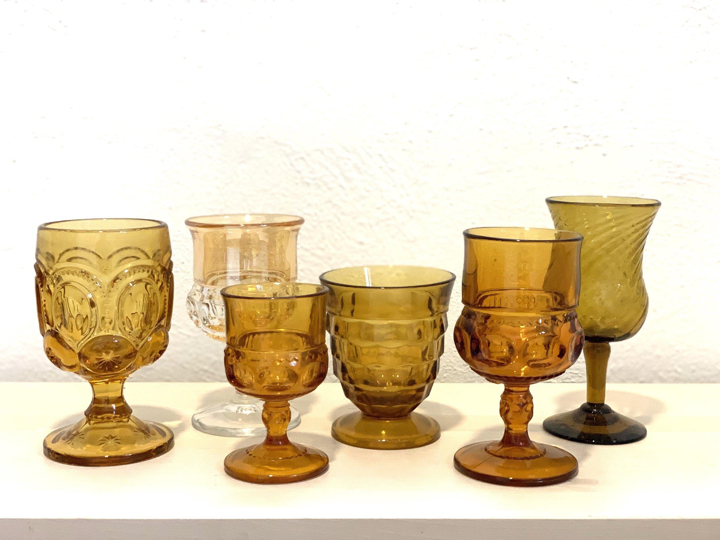 Amber Glass Goblets $2 ea