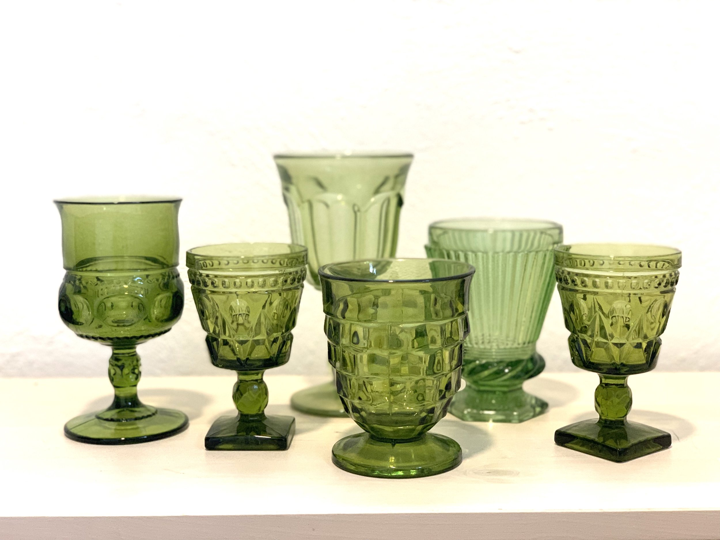 Green Glass Goblets $2 ea