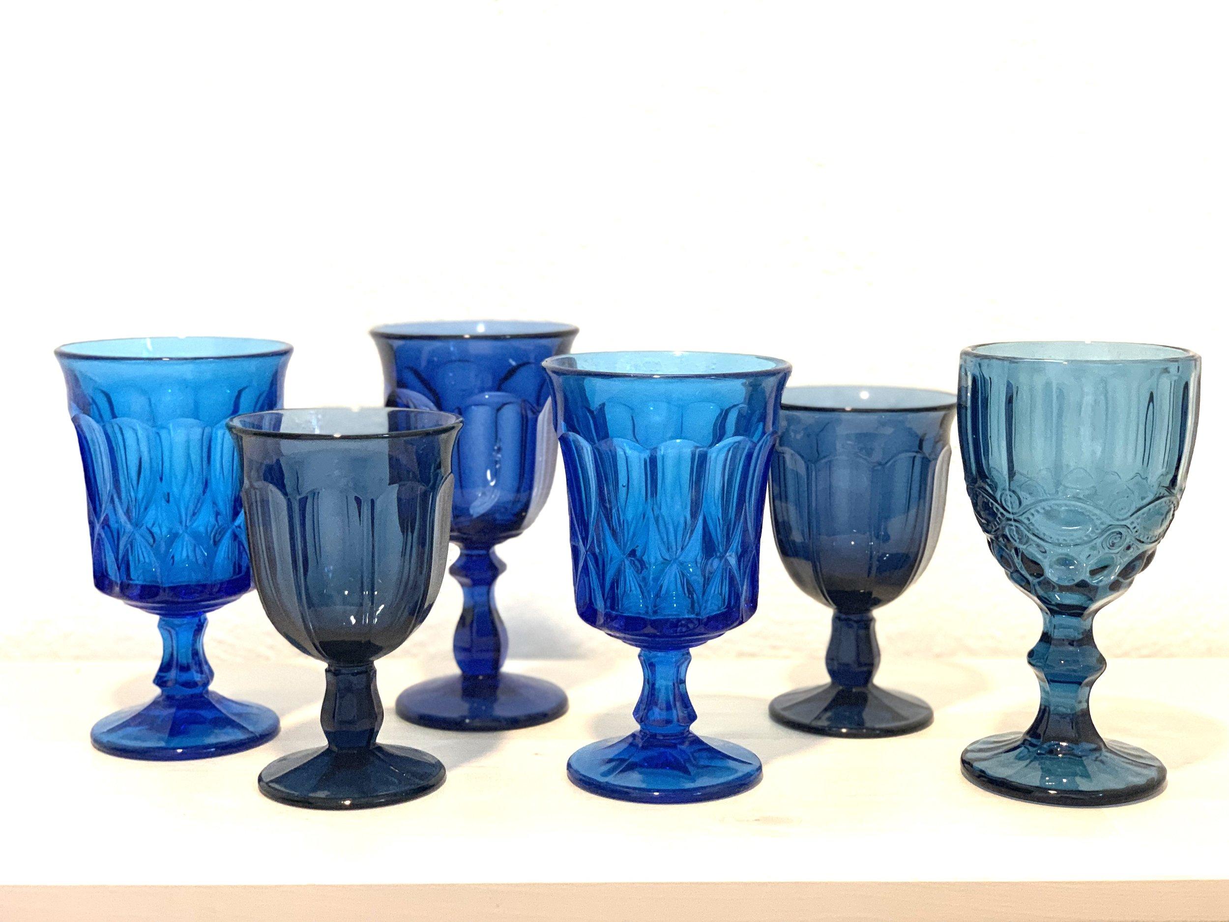 Blue Glass Goblets $2 ea