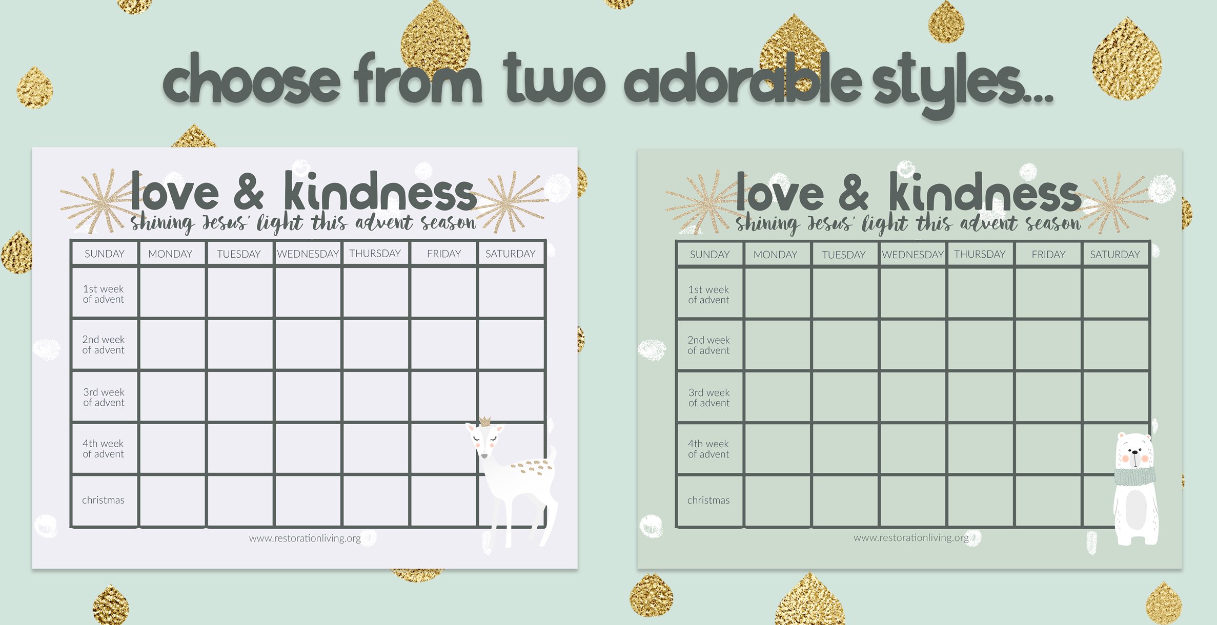 Kids' Advent Calendar // Acts of Kindness Calendar // Free Printable