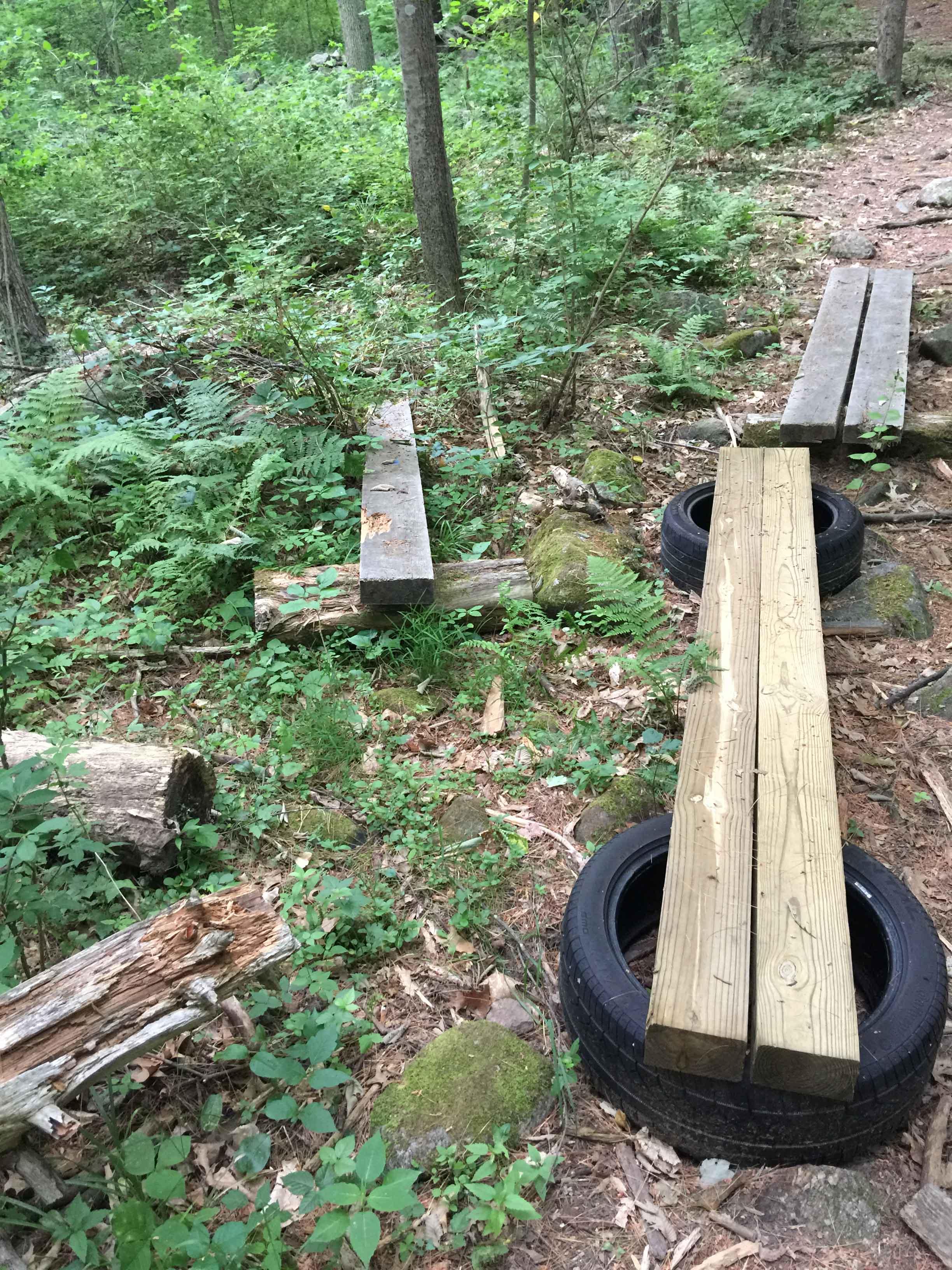 A newly-installed bog bridge
