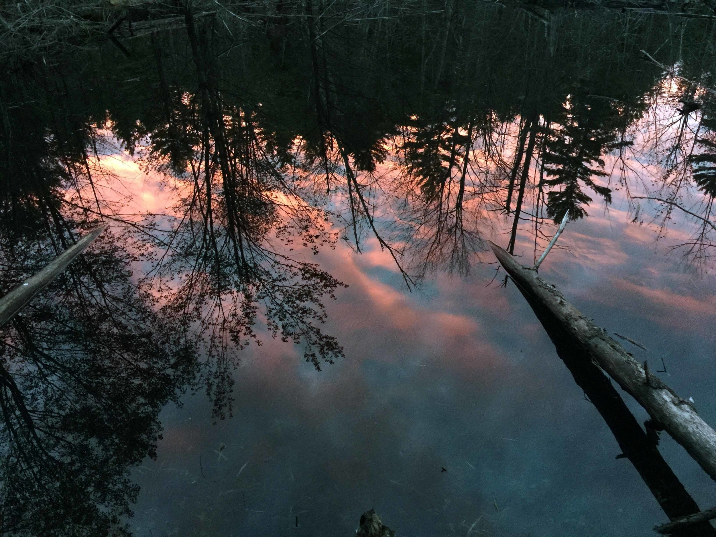 Sunset reflection off water