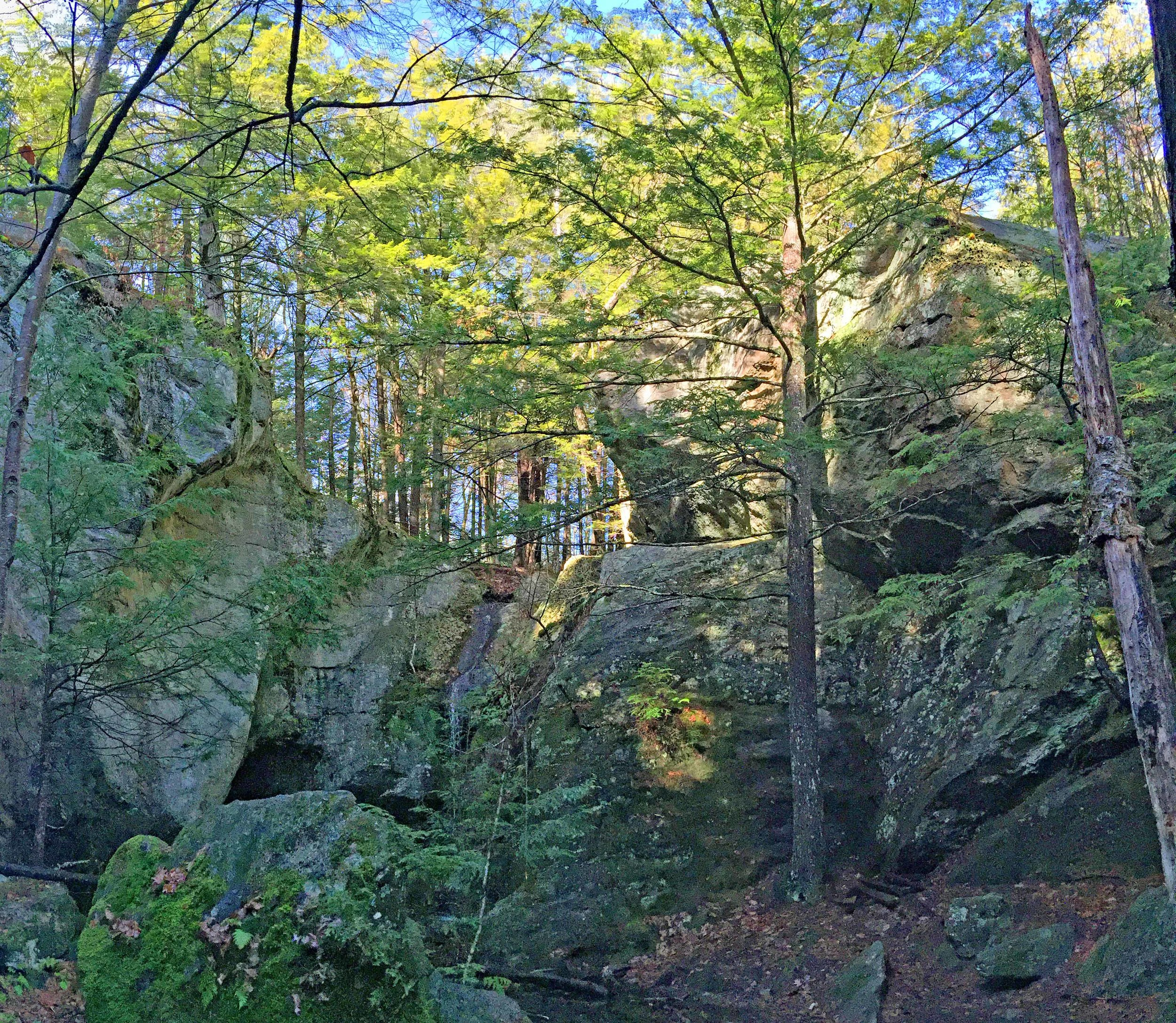 """""""The Pulpit"""", view from bottom of the ravine"""