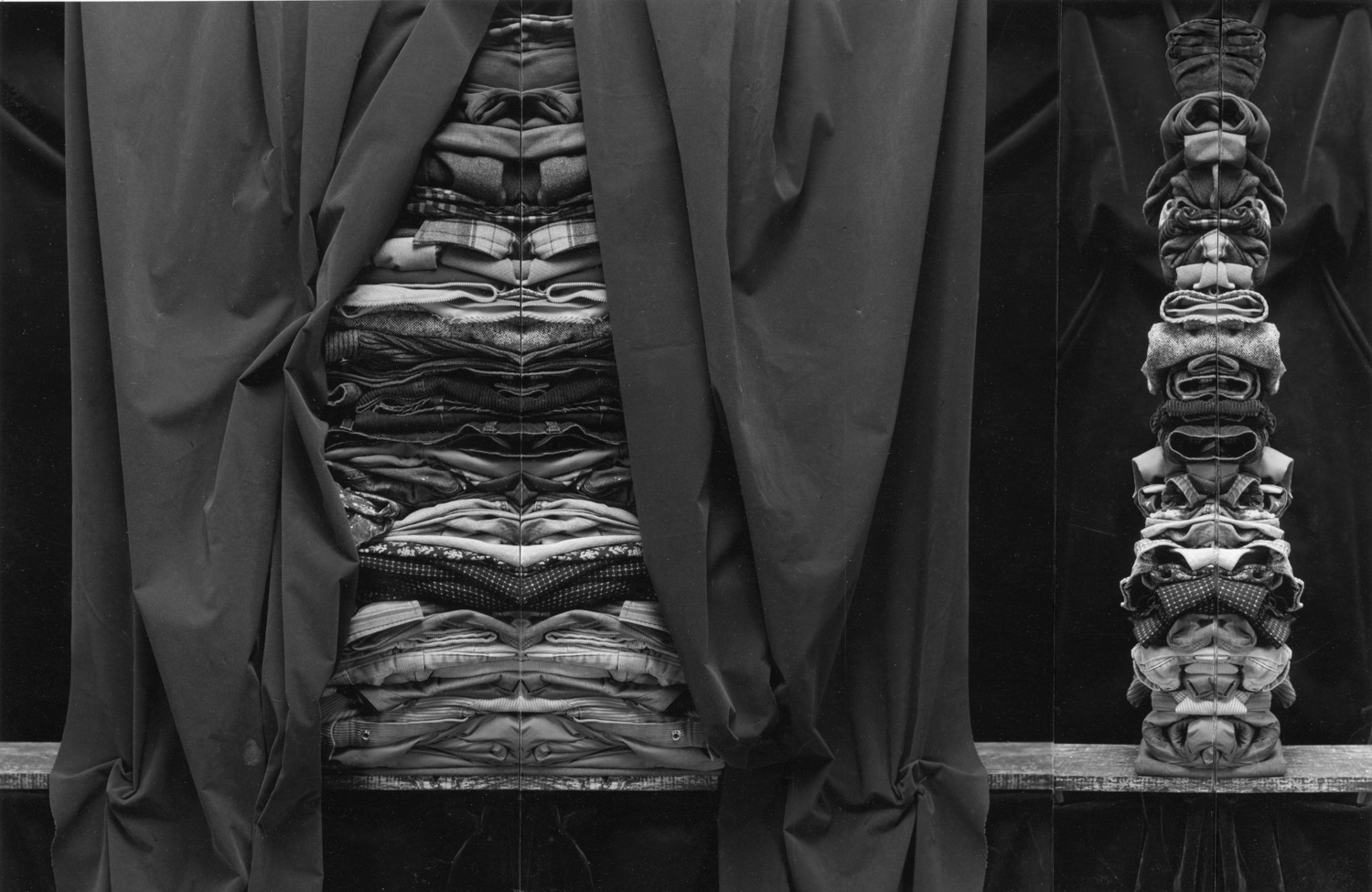 Clothing Stacks, triptych  1996  16X20