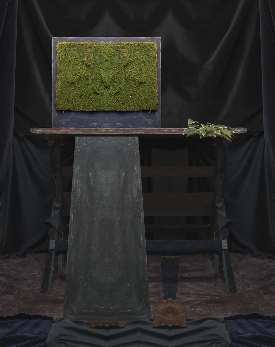 Artificial Moss, Leaves and Board - Mirrored diptych  2018