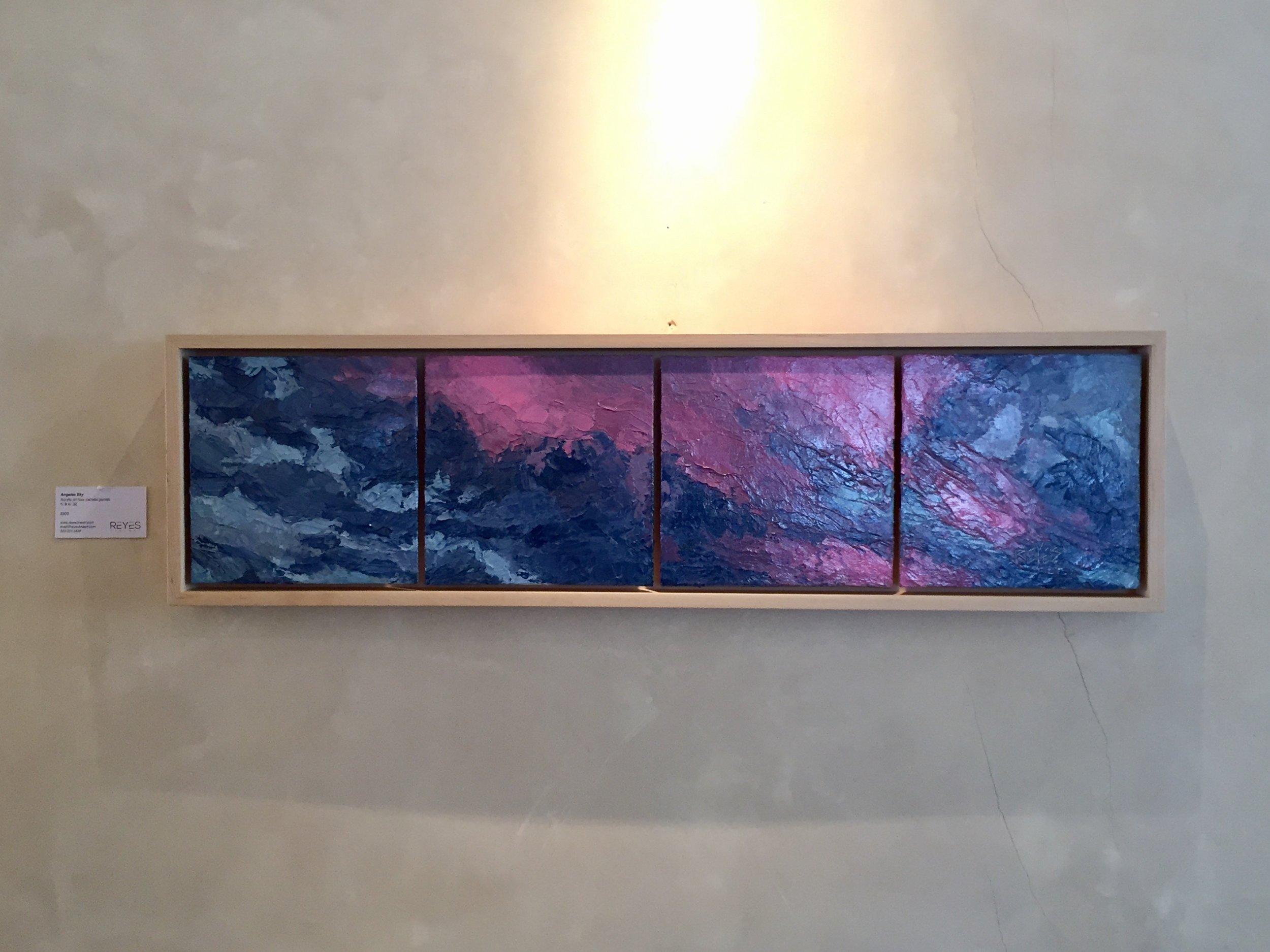 "Angeles Sky, Acrylic on panels, 8"" x 32"""