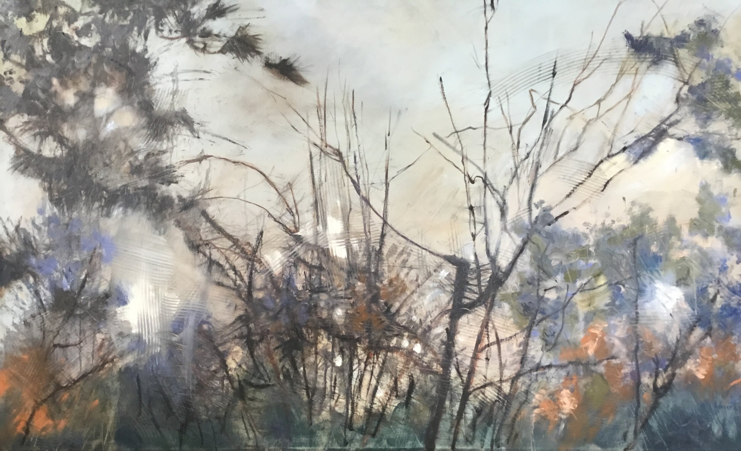 """Down among the reeds and rushes II, 36 x 60 """", oil on canvas"""