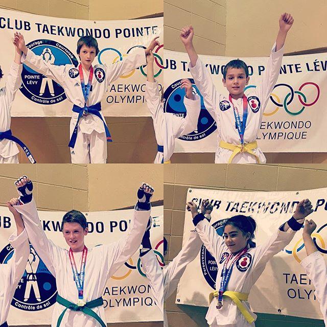 5 médailles d'or et deux de bronze, 14 victoires et deux défaites pour nos athlètes! Bravo! #taekwondo #taekwondoquebec