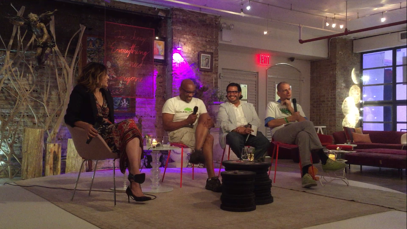 Filmmaker Lori Silverbush, Harlem Grown's Tony Hillery, FRESH Med's Dr. Robert Graham and Green Bronx Machine's Stephen Ritz at Deepak HomeBase.