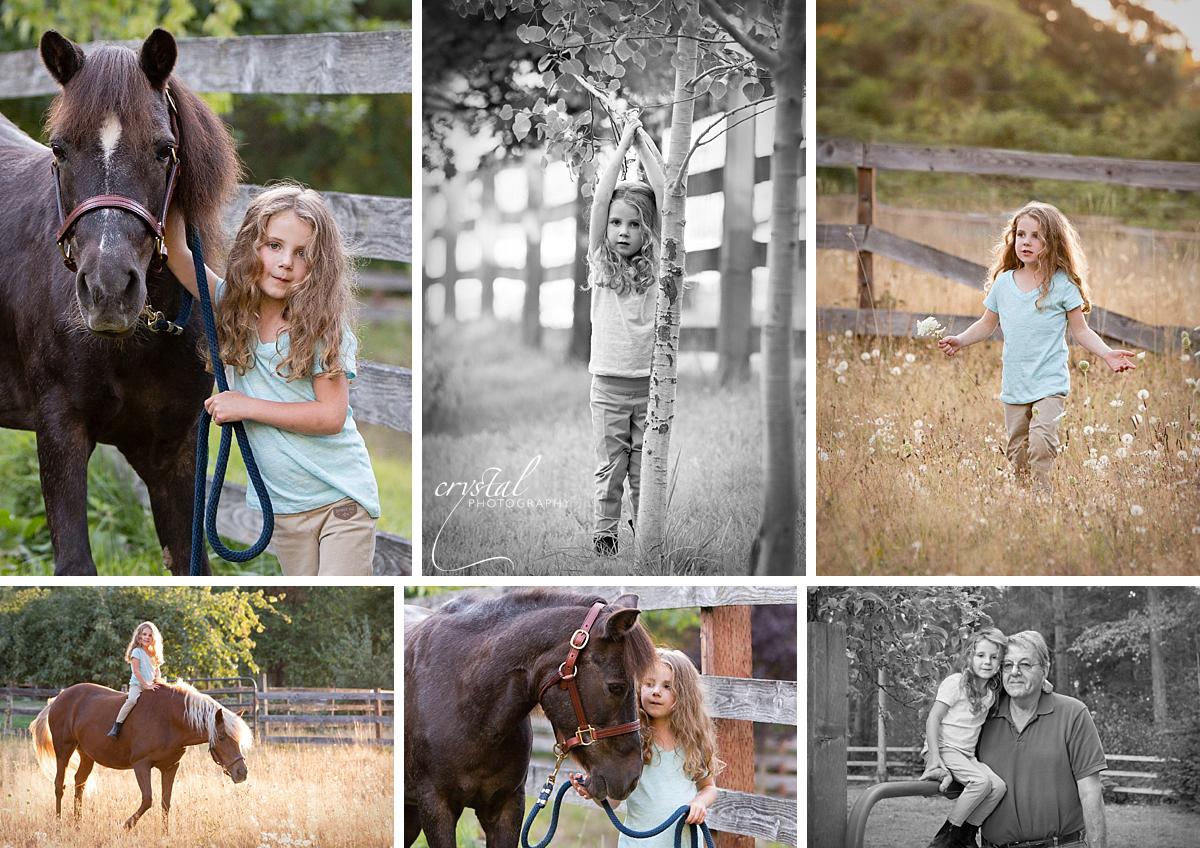 Amanda, Annie (dark pony), Bubbles (pony with blonde mane and tail)and Amanda with Poppy (grandpa).