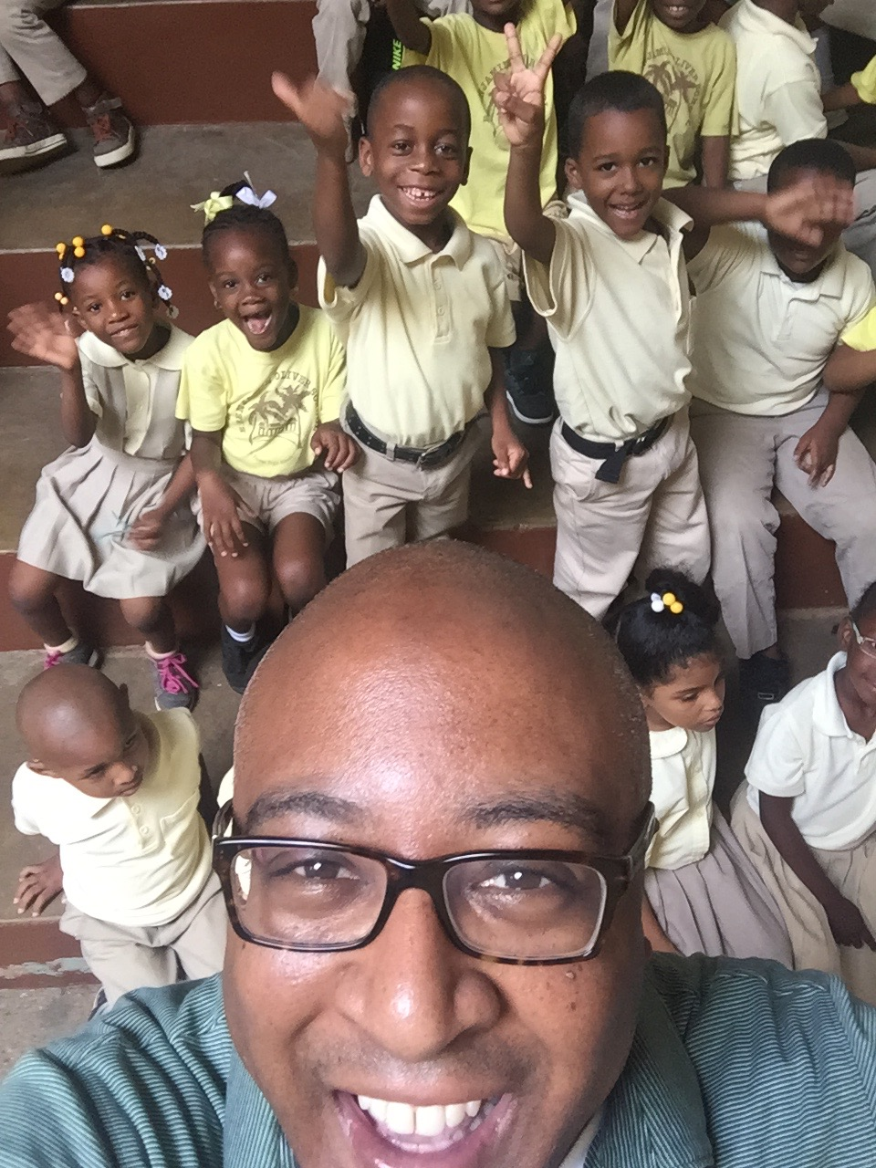 With students in St. Croix, Virgin Islands