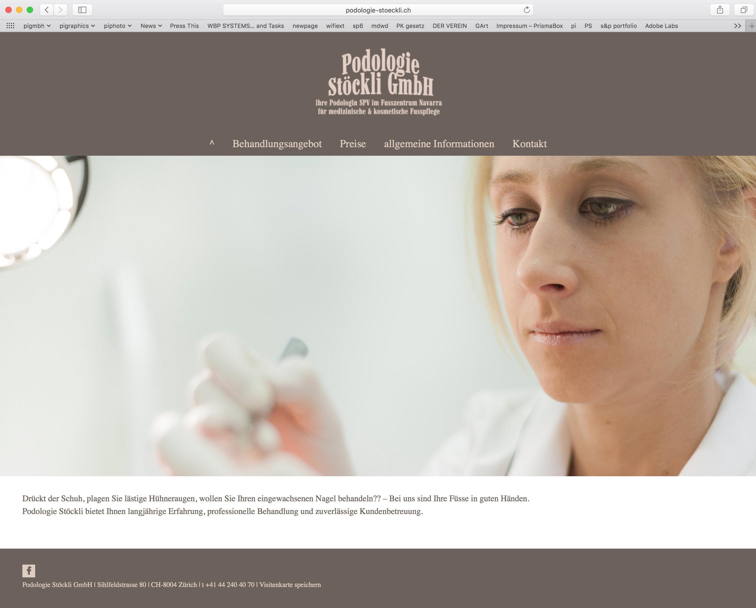 Webseite Podologie Stöckli Zürich