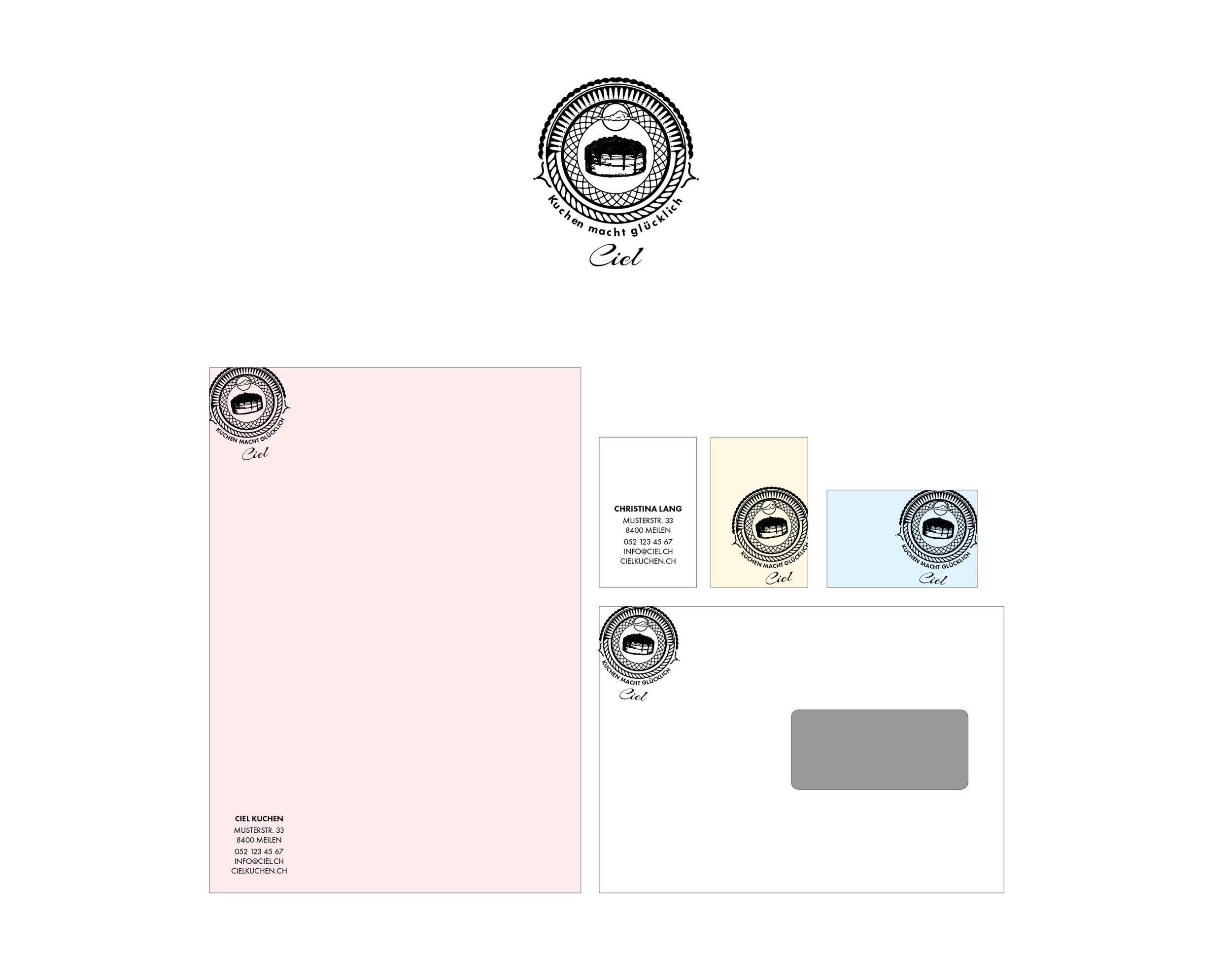 Gestaltung Logo und Briefschaften I Ciel Kuchen macht glücklich