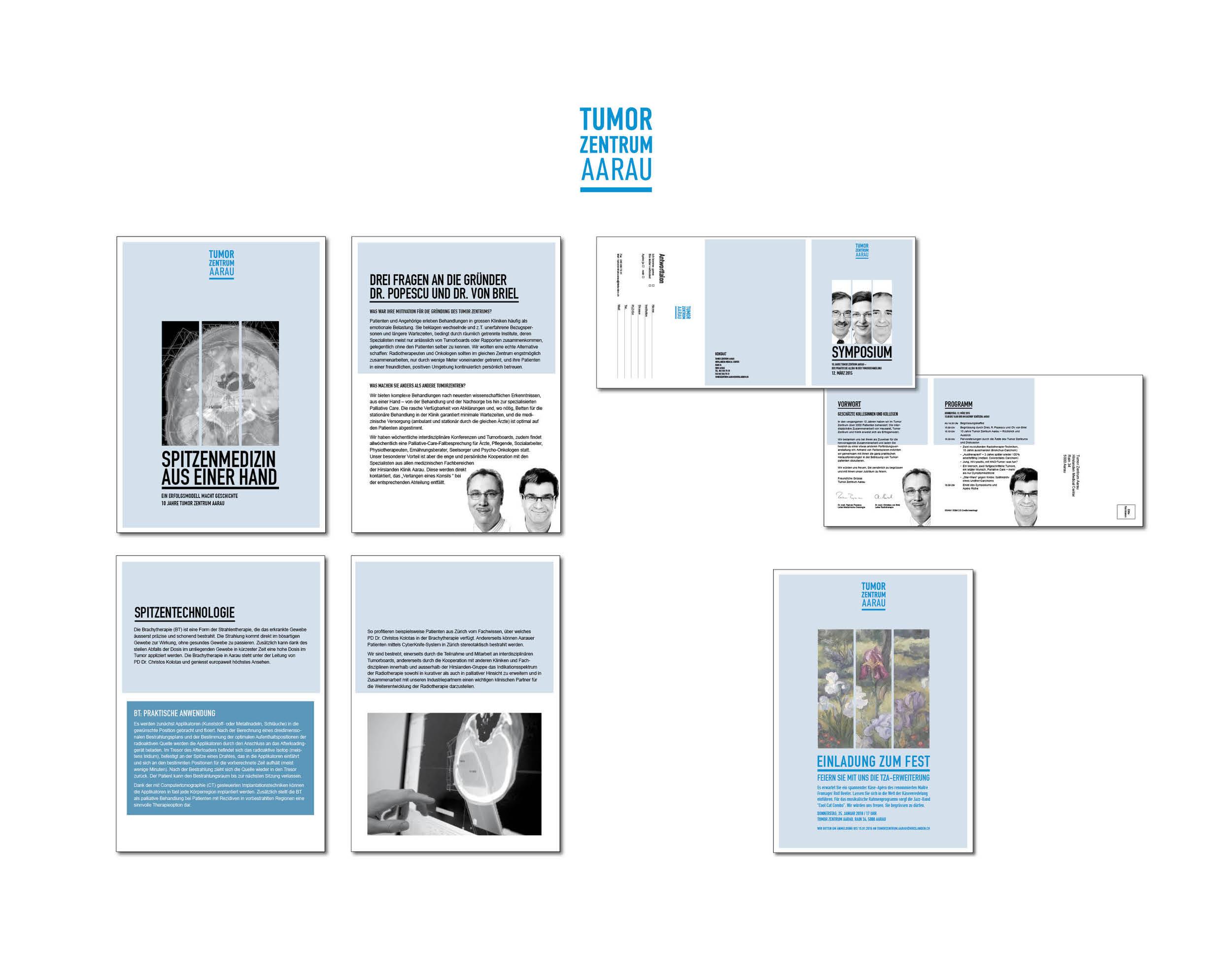 Gestaltung Logo und Printprodukte I Tumor Zentrum Aarau