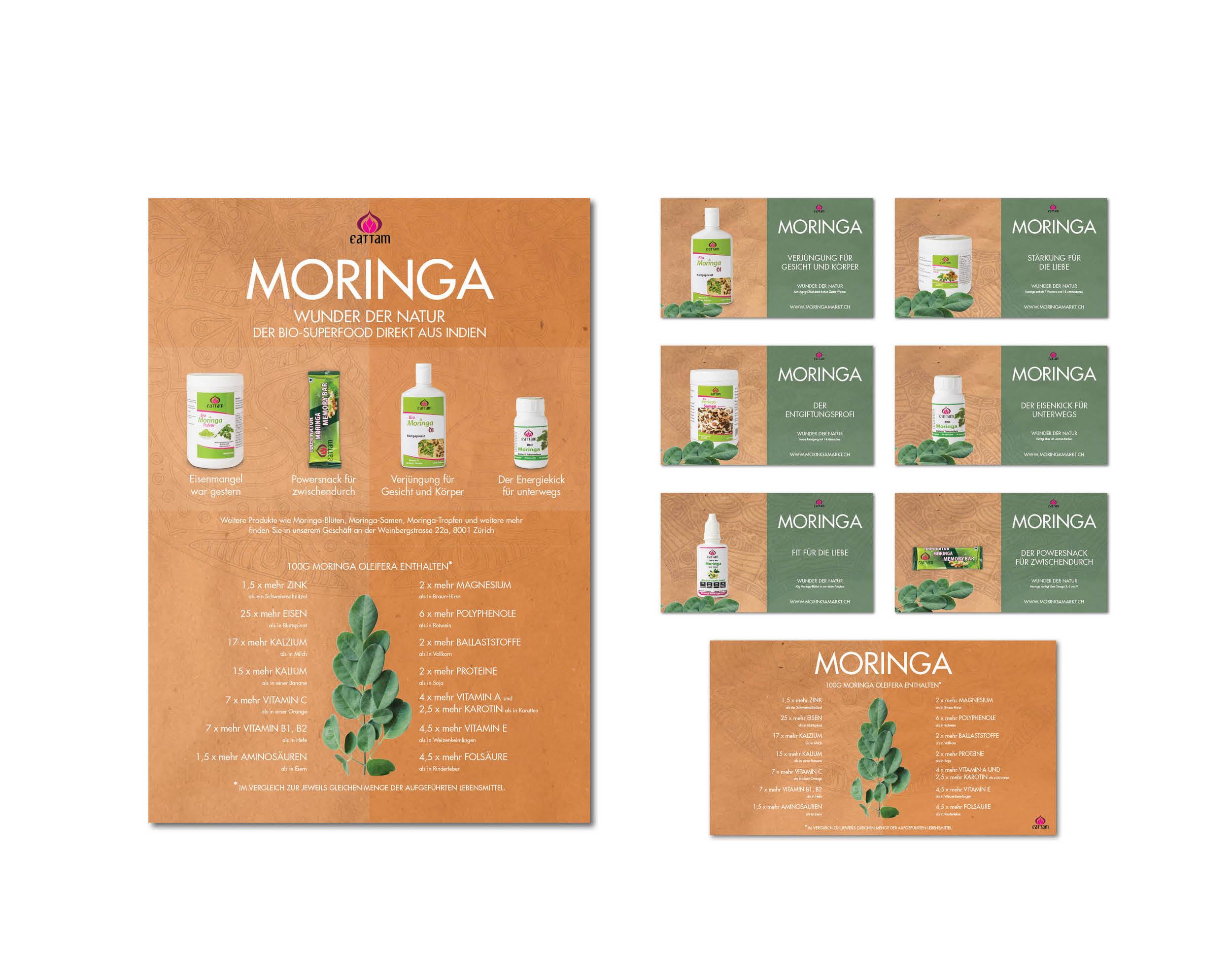 Gestaltung von Plakaten und digitalen Slides I Moringa Markt