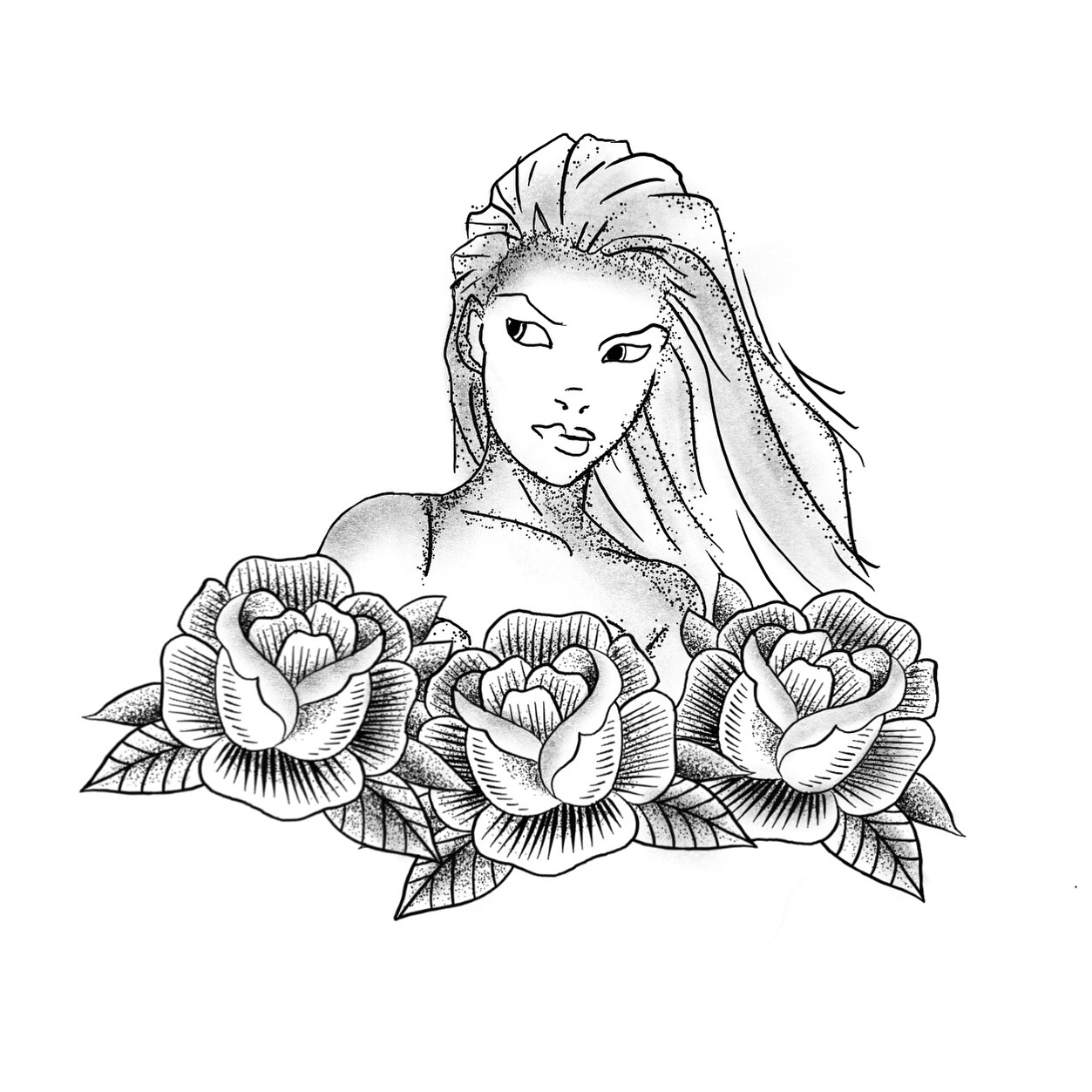 This was very interesting to draw as it was half inspired by a basic traditional rose but also by the style of cartoon superhero/heroin it was very interesting to merge these styles together. I do not intend to get this design tattooed.