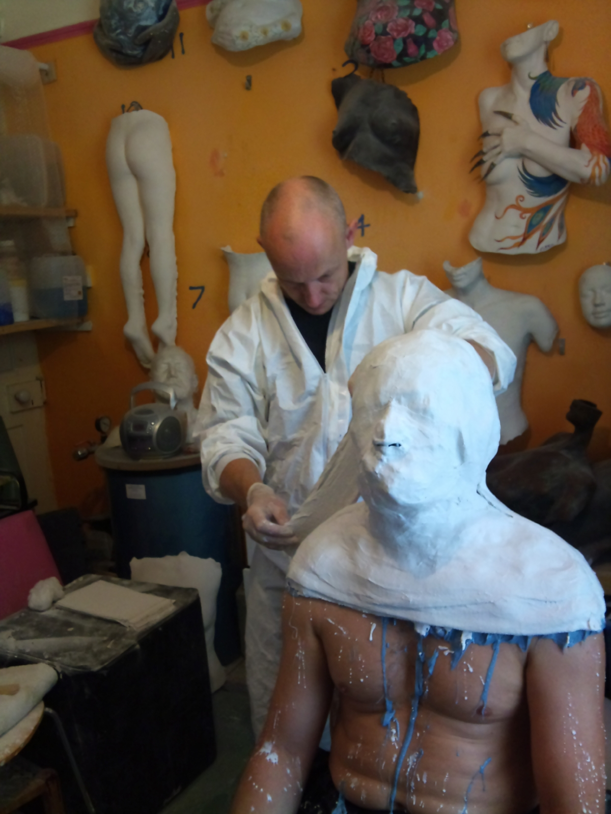 André Masters doing a full head cast