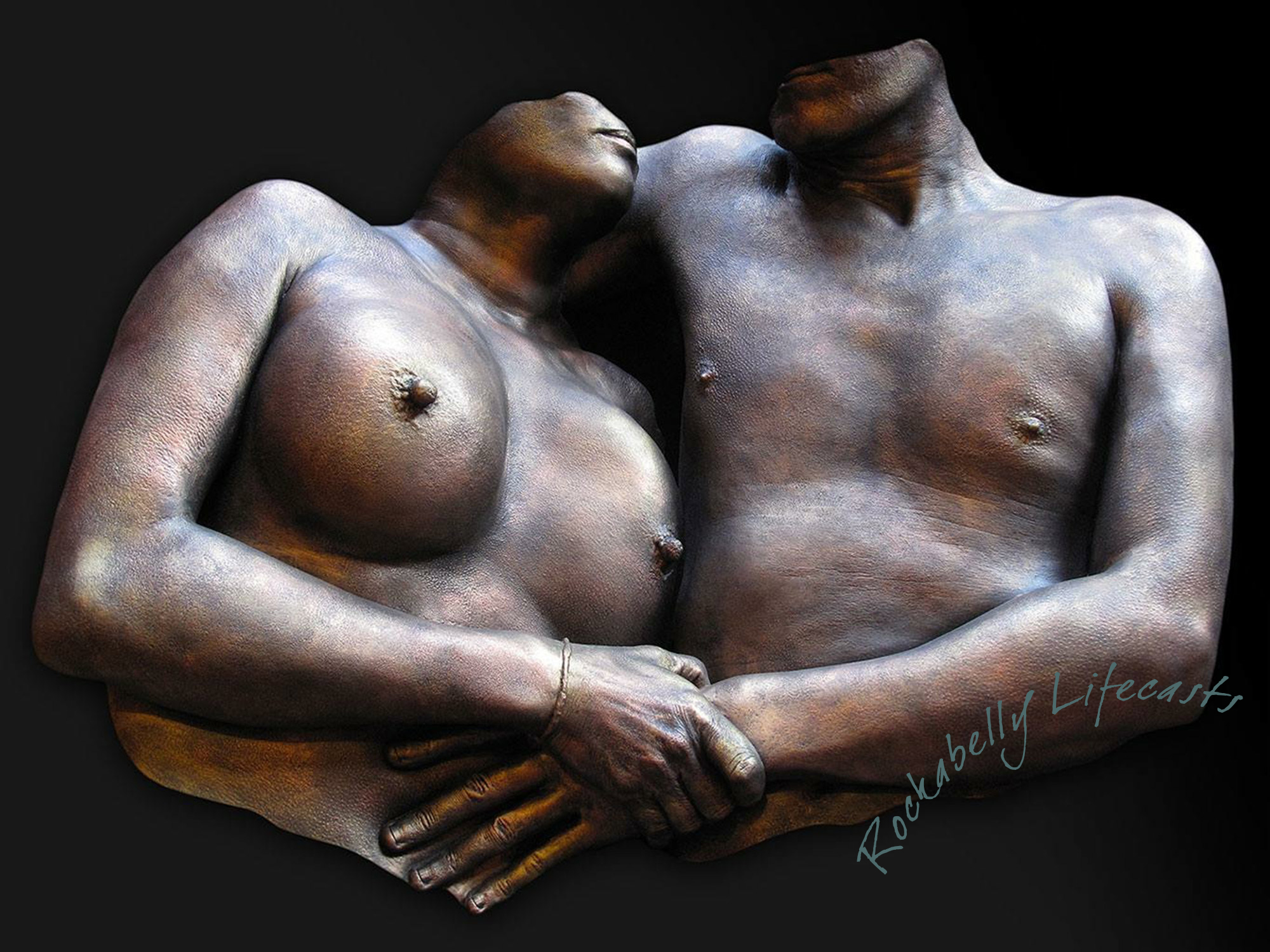 Couple torso cast - embracing - by Rockabelly Lifecasts