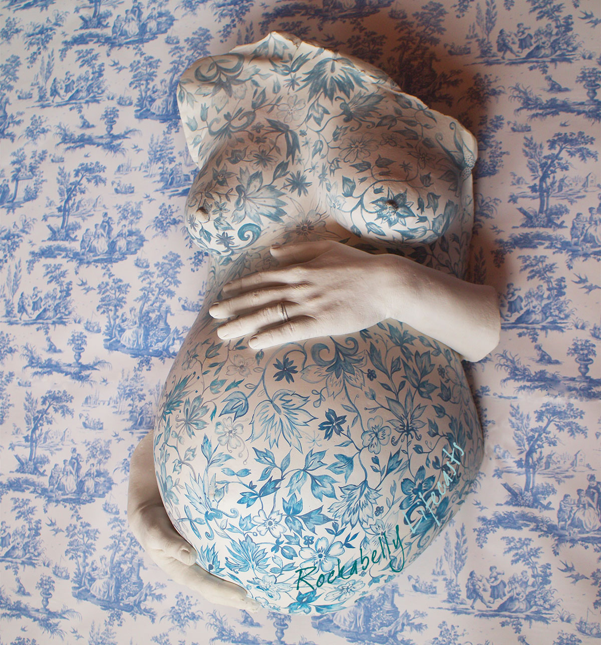 'A Very English Pregnancy' - handpainted pre-natal cast by CJ Munn