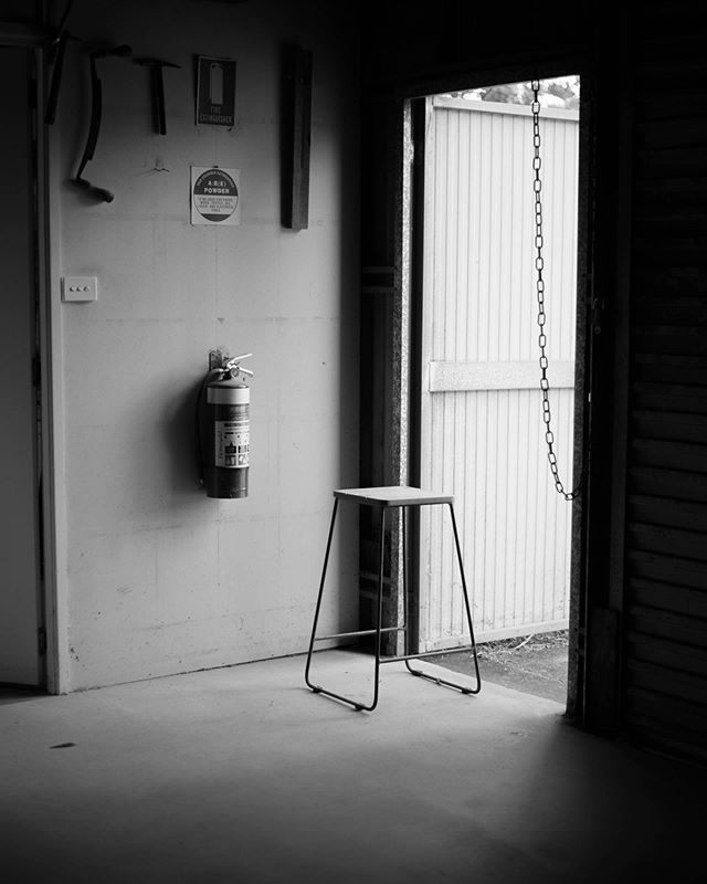 When the workshop roller doors are down, the only source of light is Illuminates the first Bent Barker Stool I ever made. Since this prototype, we've gone on to make 100's of them. A consistent reminder that from little things, big things grow.