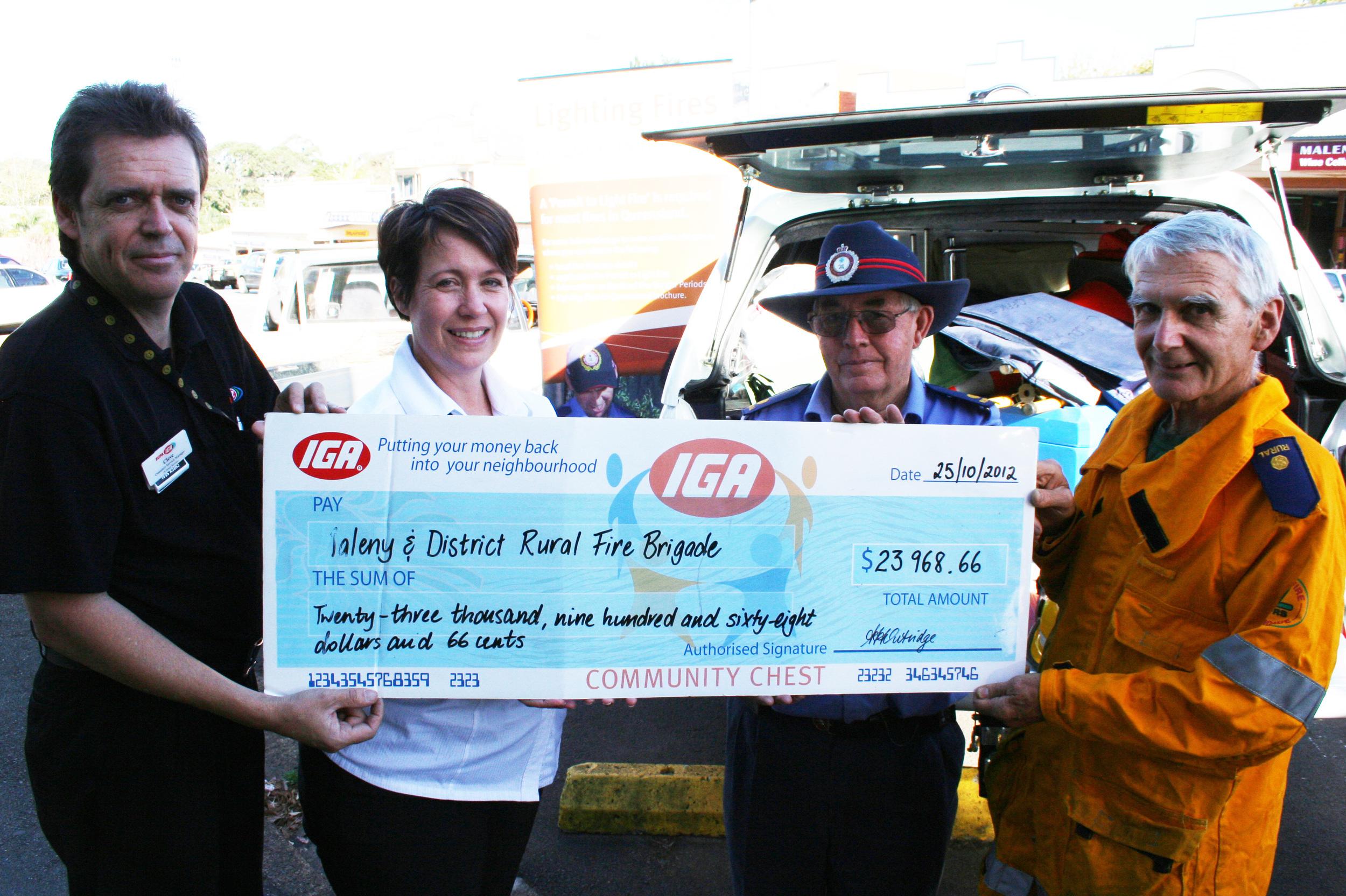 Maleny Rural Fire Brigade CBC Cheque Presentation.