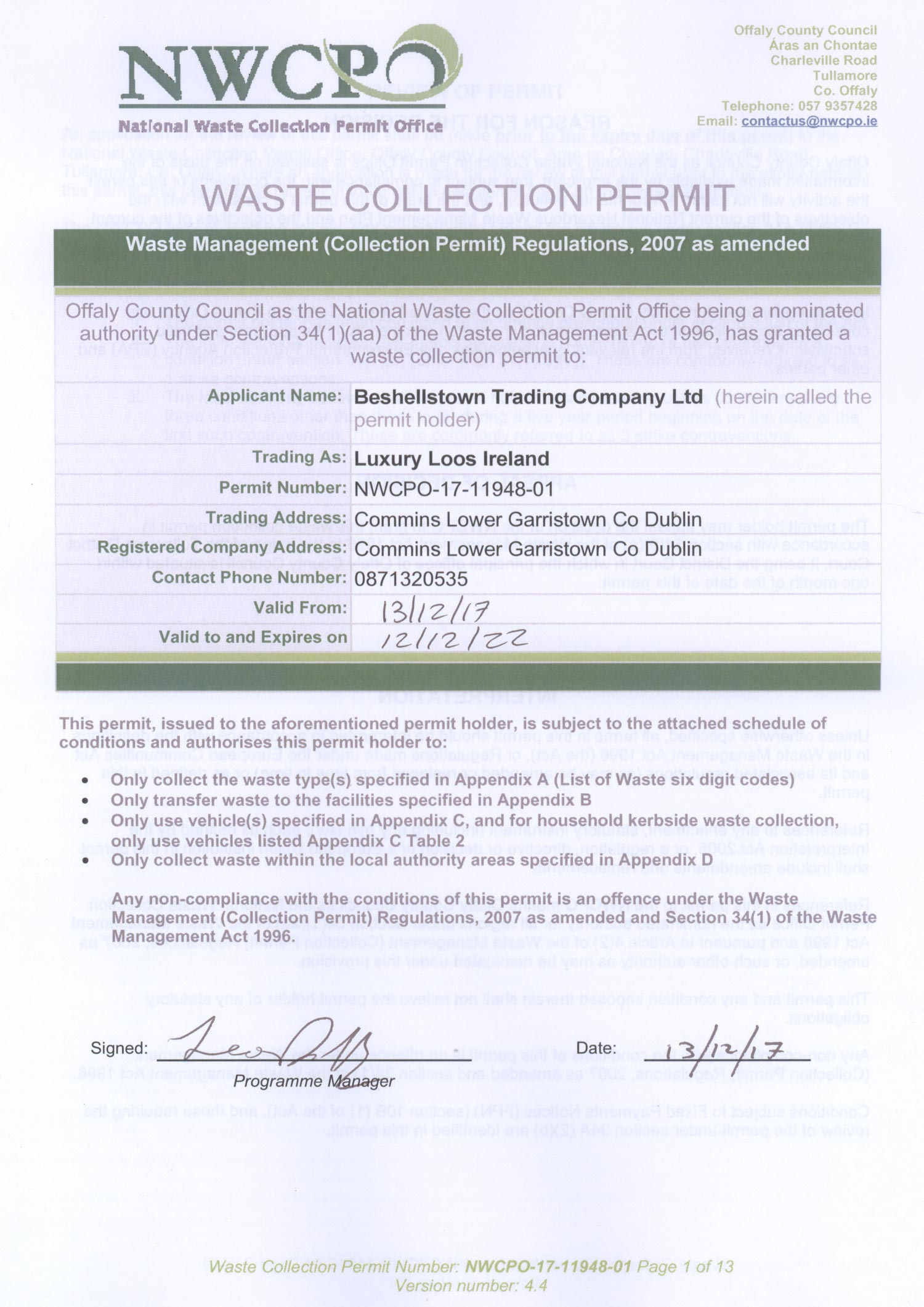Luxury Loos Waste Collection Permit 2017-2022