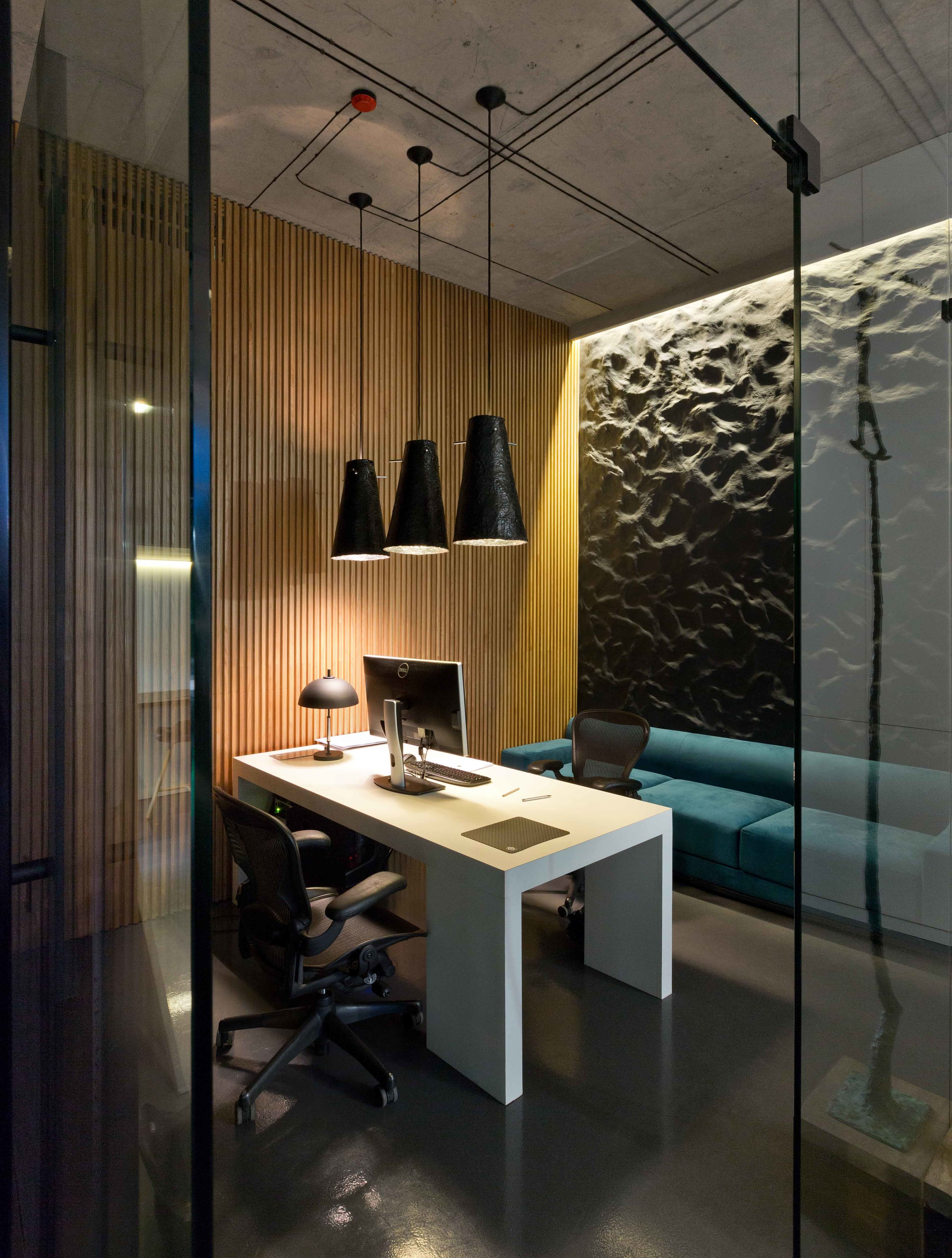 furniture-modern-minimalist-office-design-with-high-ceiling-and-hanging-pendant-lamp-with-low-light-plus-white-desk-with-black-leather-office-chairs-and-wood-wall-cladding-panels-plus-blue.jpg