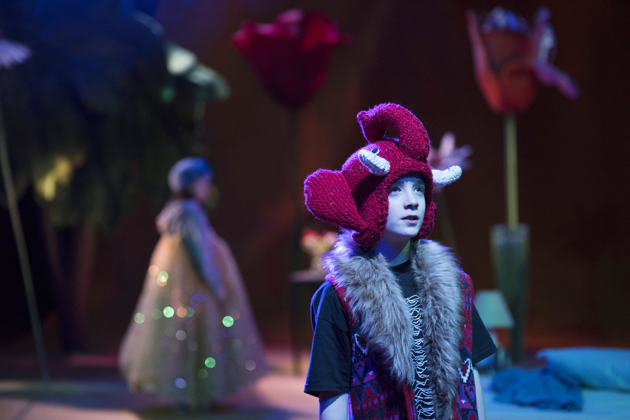 Amalia Vitale as Sandy, Rowan Davies-Moore as Bart in Beginners at Unicorn Theatre, photo credit Hugo Glendinning.JPG