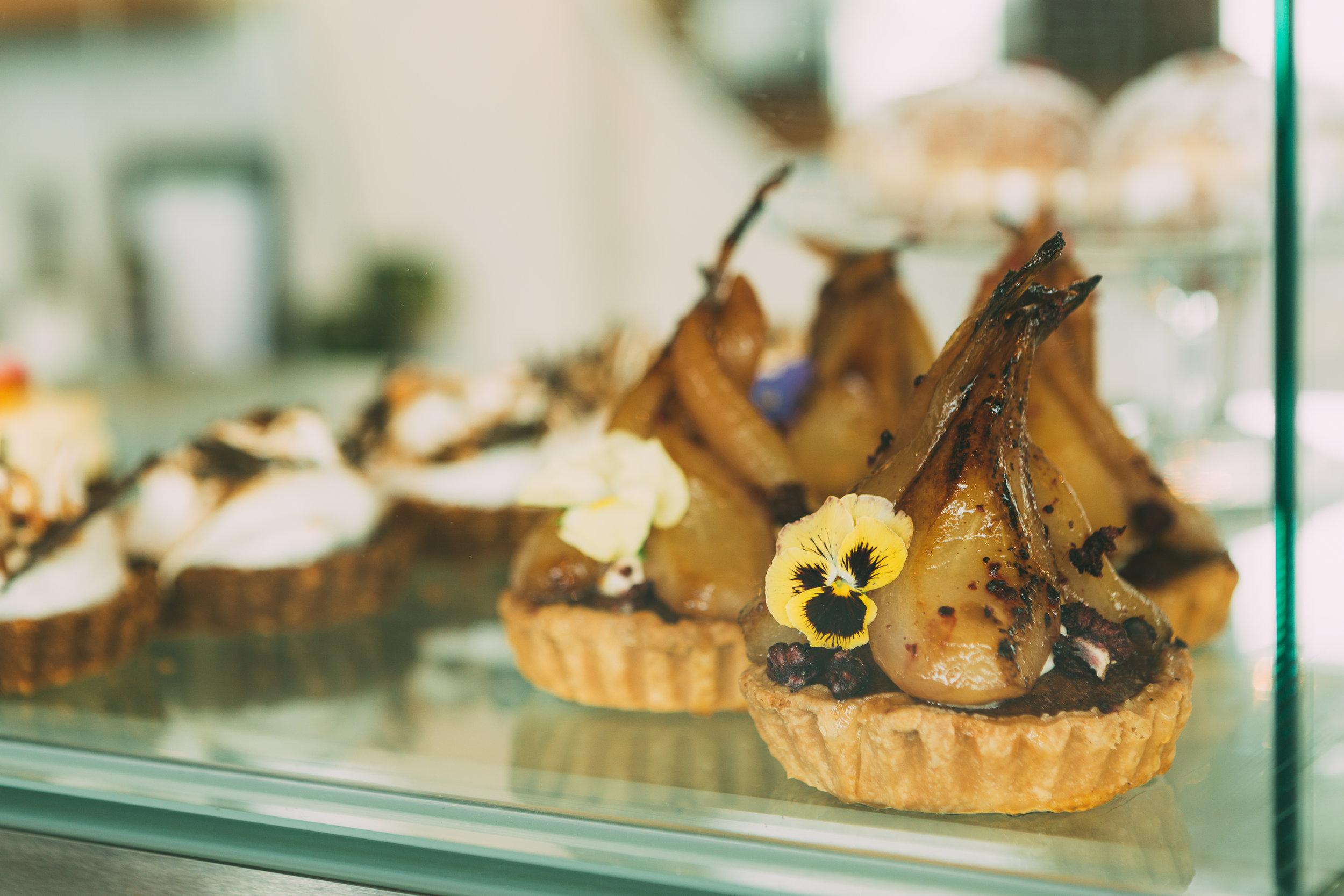 rosebank poached pear tart