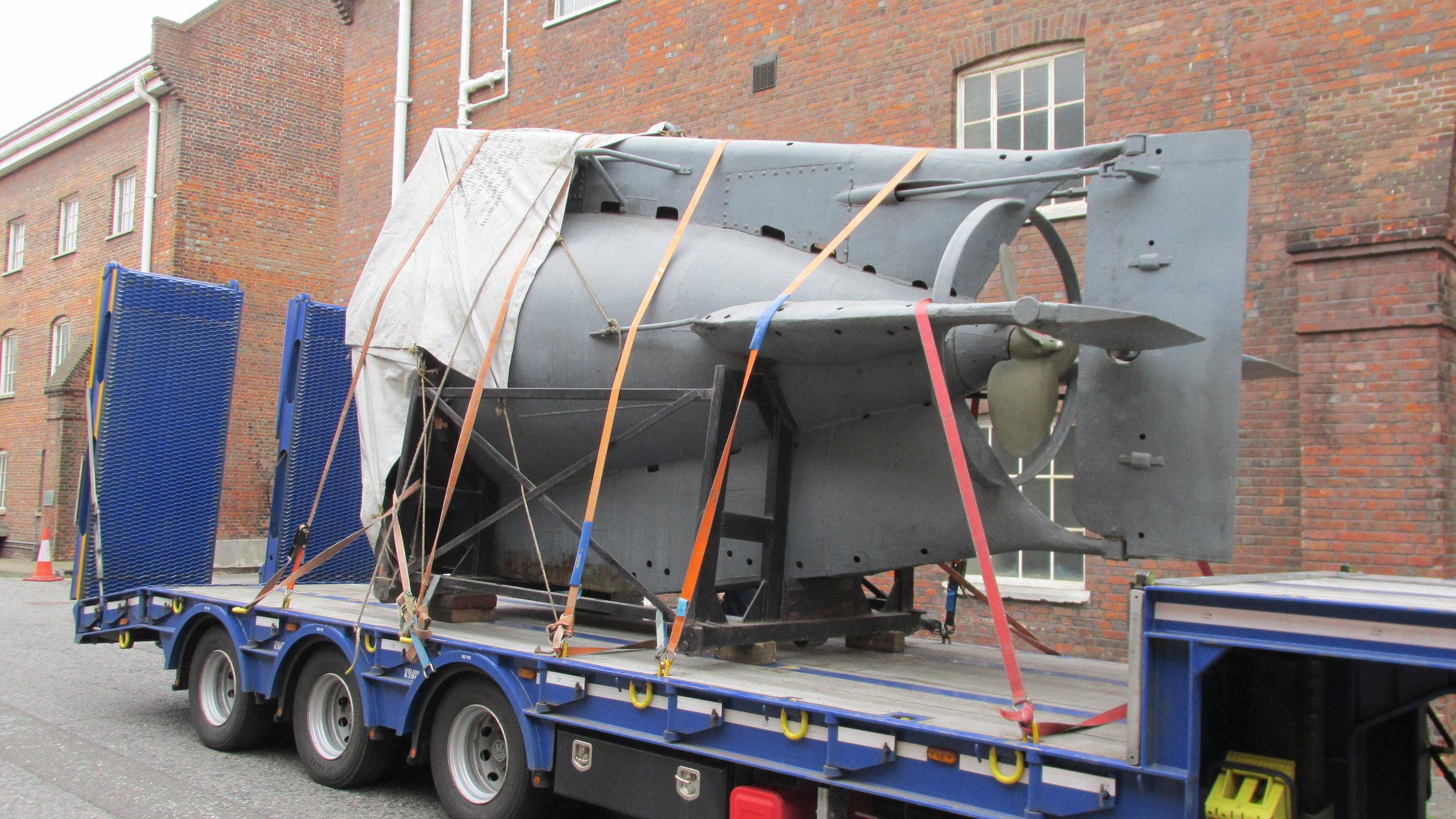 The submarine's engine travelling seperately