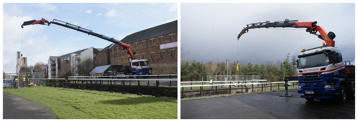 lifting sculptures over the forth and clyde canal