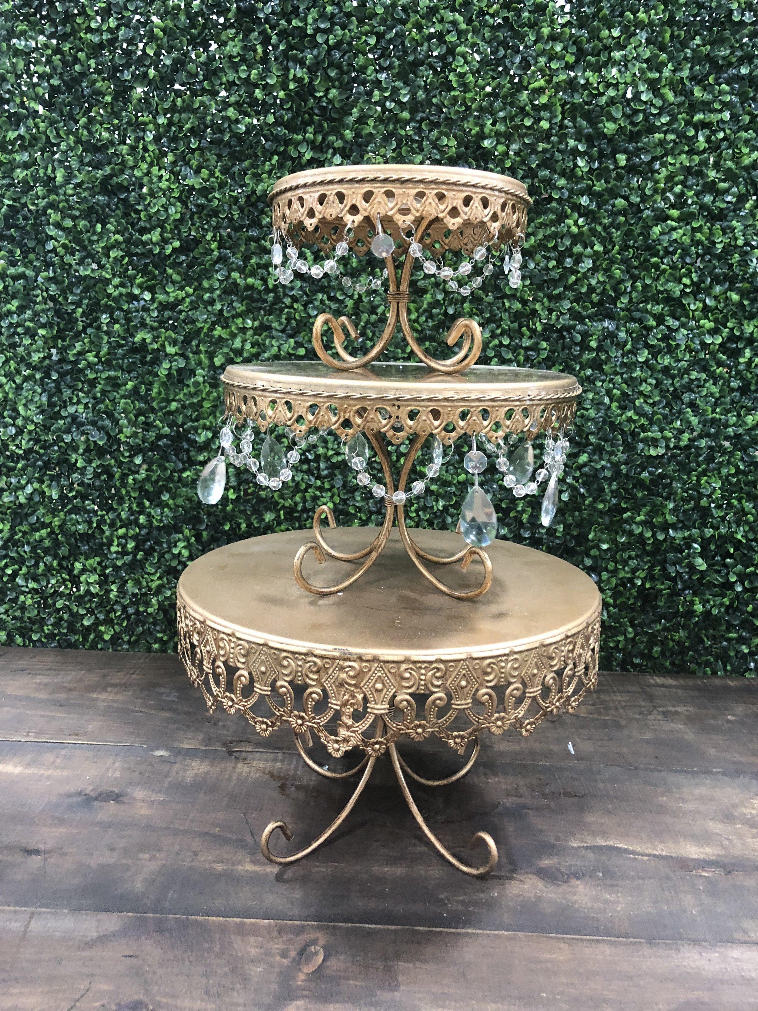 Gold Round Pedestal Cake Stands