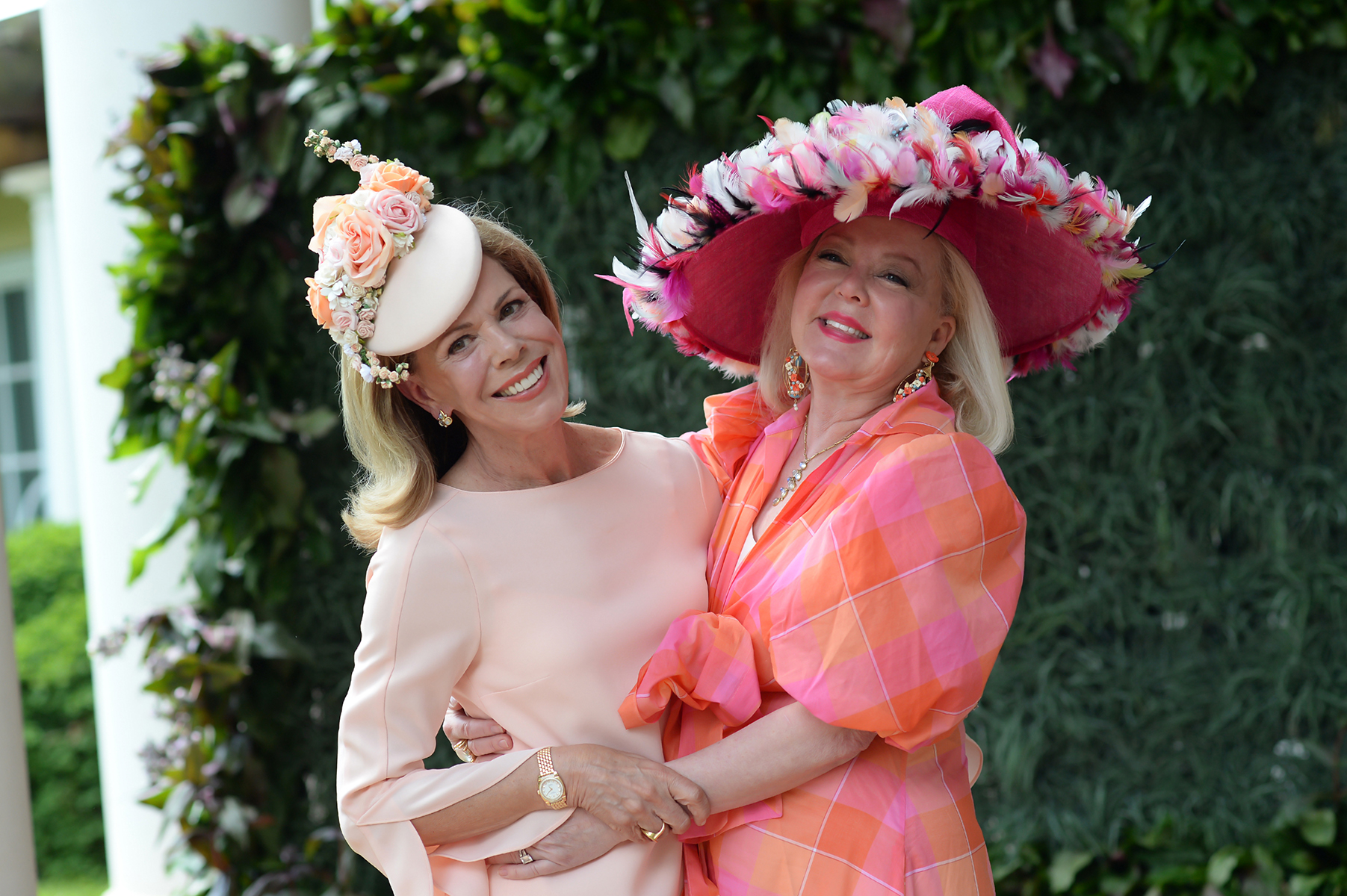 Pam Warlick (left) and Pam Stowe at Hats in the Garden