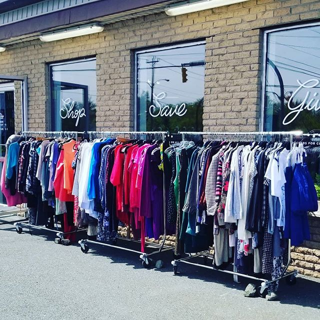 Just restocked all of our outside racks for the weekend! We are restocking all day long- swing by!  #shoplocal #shopthrift #socialenterprise #shopsecondhandfirst #treasurehunting #familyshopping