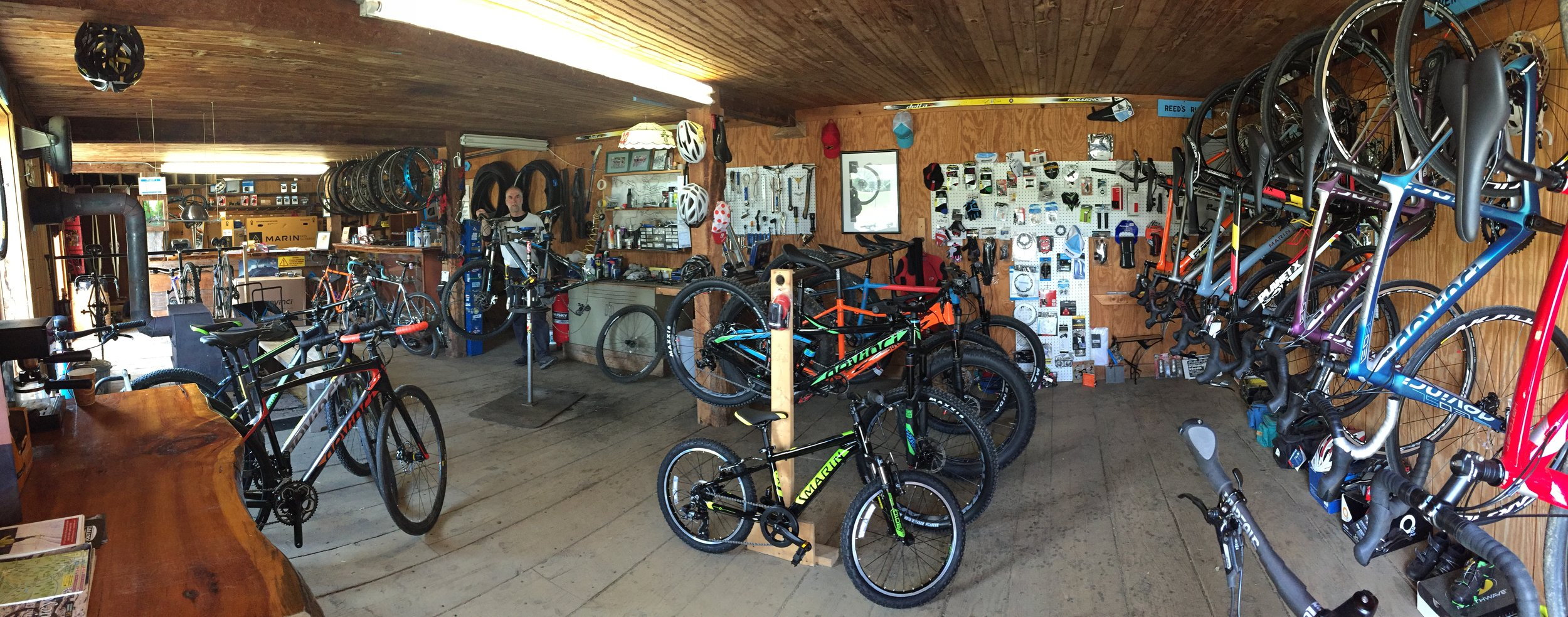 Hi, Big Ring Bob here... - I have been riding all kind of bikes for 50+ years and have been a mechanic for 30+ years. I love bikes and will serve you with passion and expertise. Also, I like giving trail and road ride options to visitors!Please stop by, go for a ride from the shop and have a good time! Ride/eat/sleep.