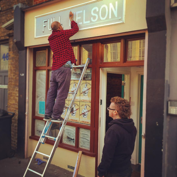 The Full Nelson, a vegan cafe from the people who brought us the Waiting Room is now up and running and very popular. Here I captured the sign being hand painted. A very nice bit of vintage drop shadow.