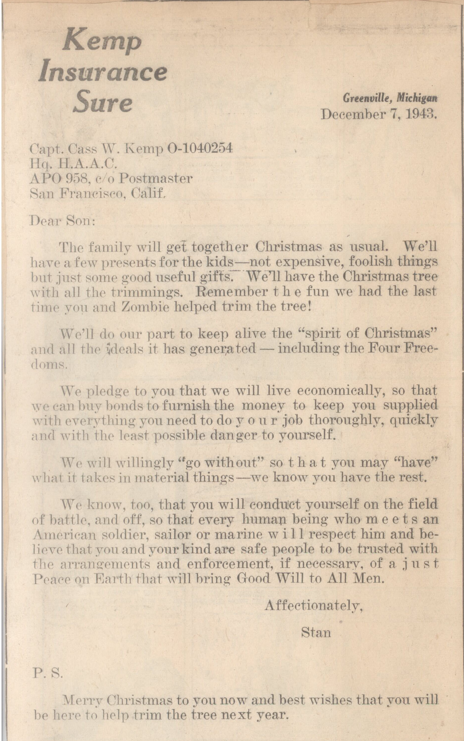 Letter from L. Stanley to Cass Kemp, Christmas 1943.