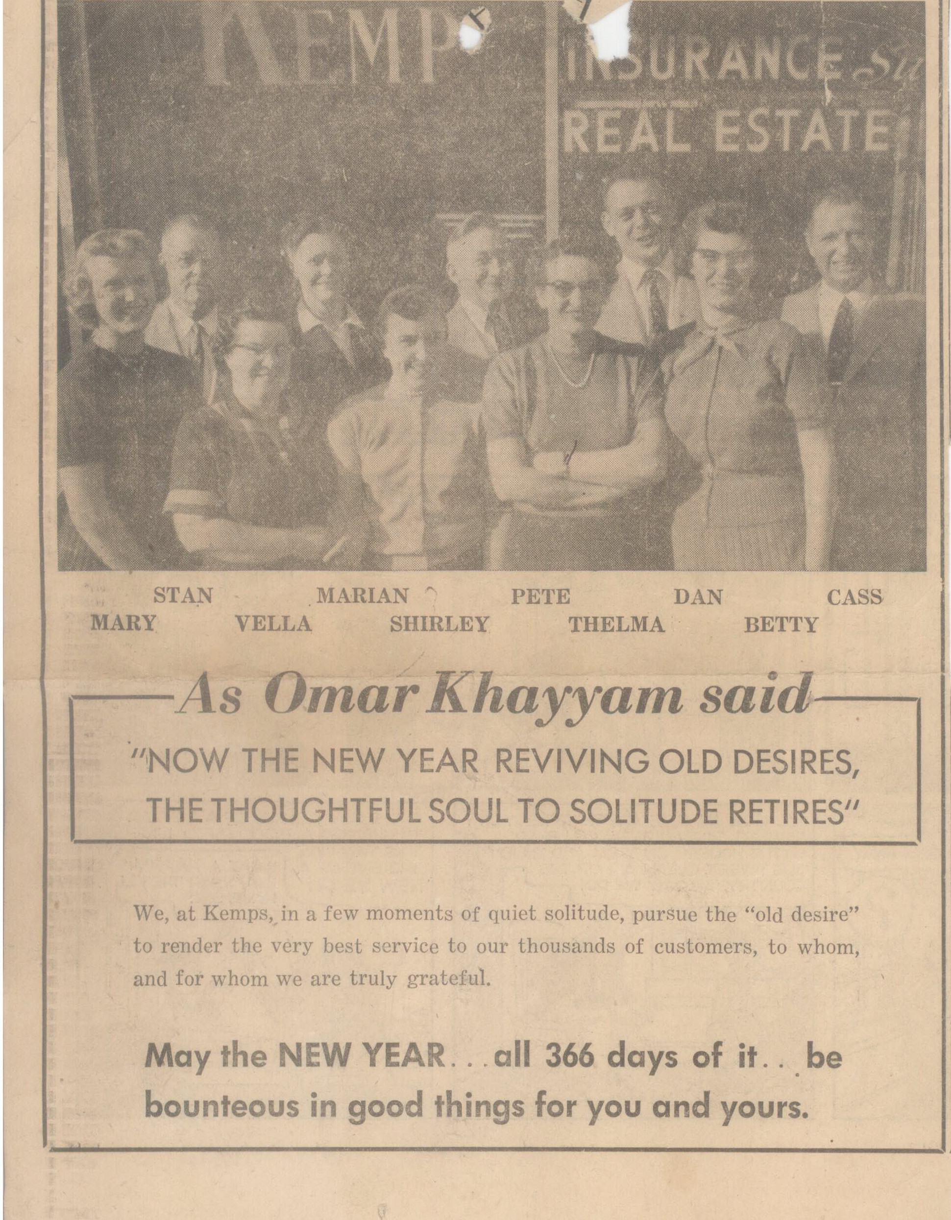 Daily News Advertisement, 1956.