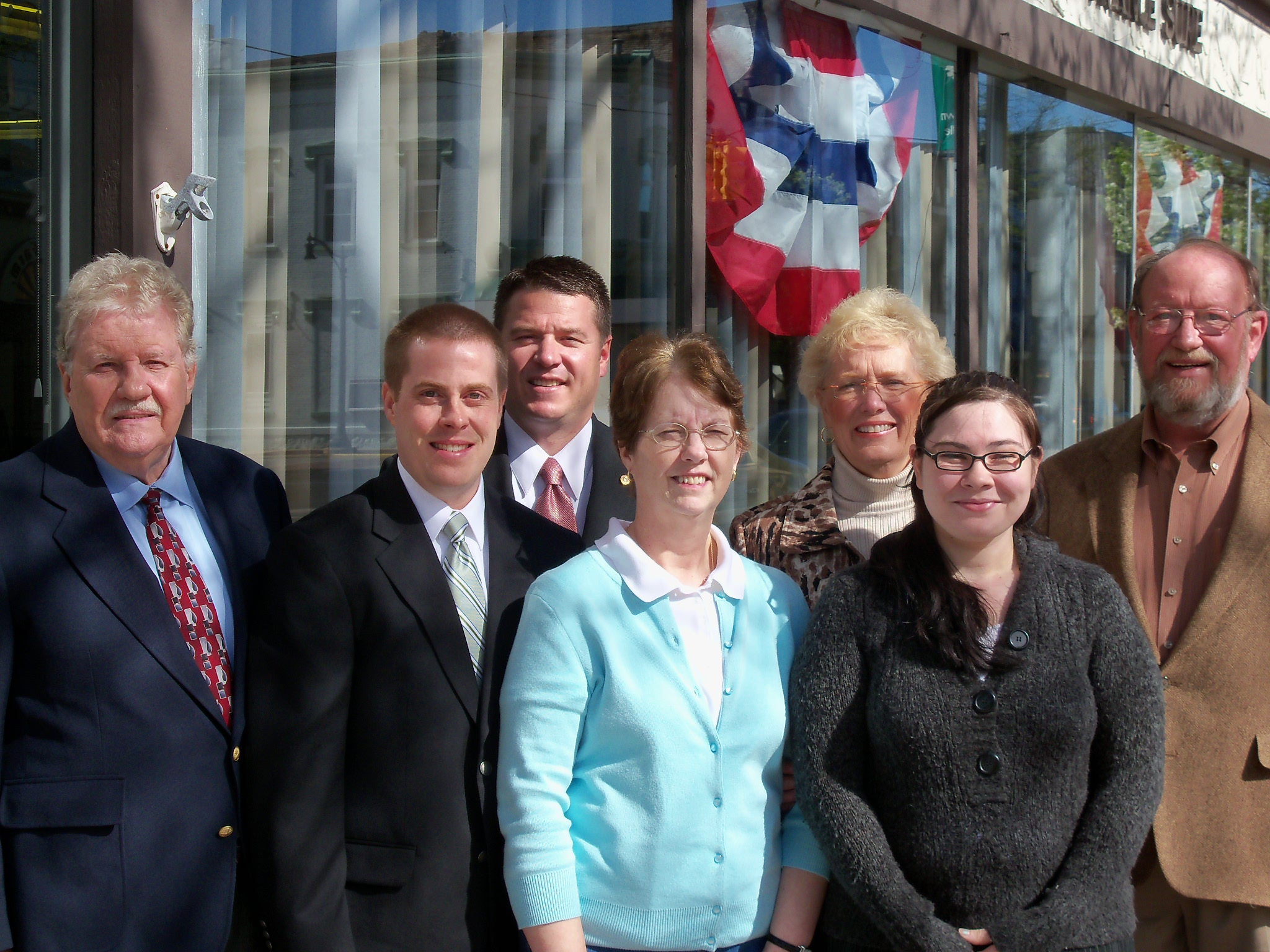 Kemp Insurance, 2011. From left to right: Chuck McDonald, Steve Kemp, Alex Kemp, Shirley Bard, Mary Plank, Samantha Tett, Bill Kemp.
