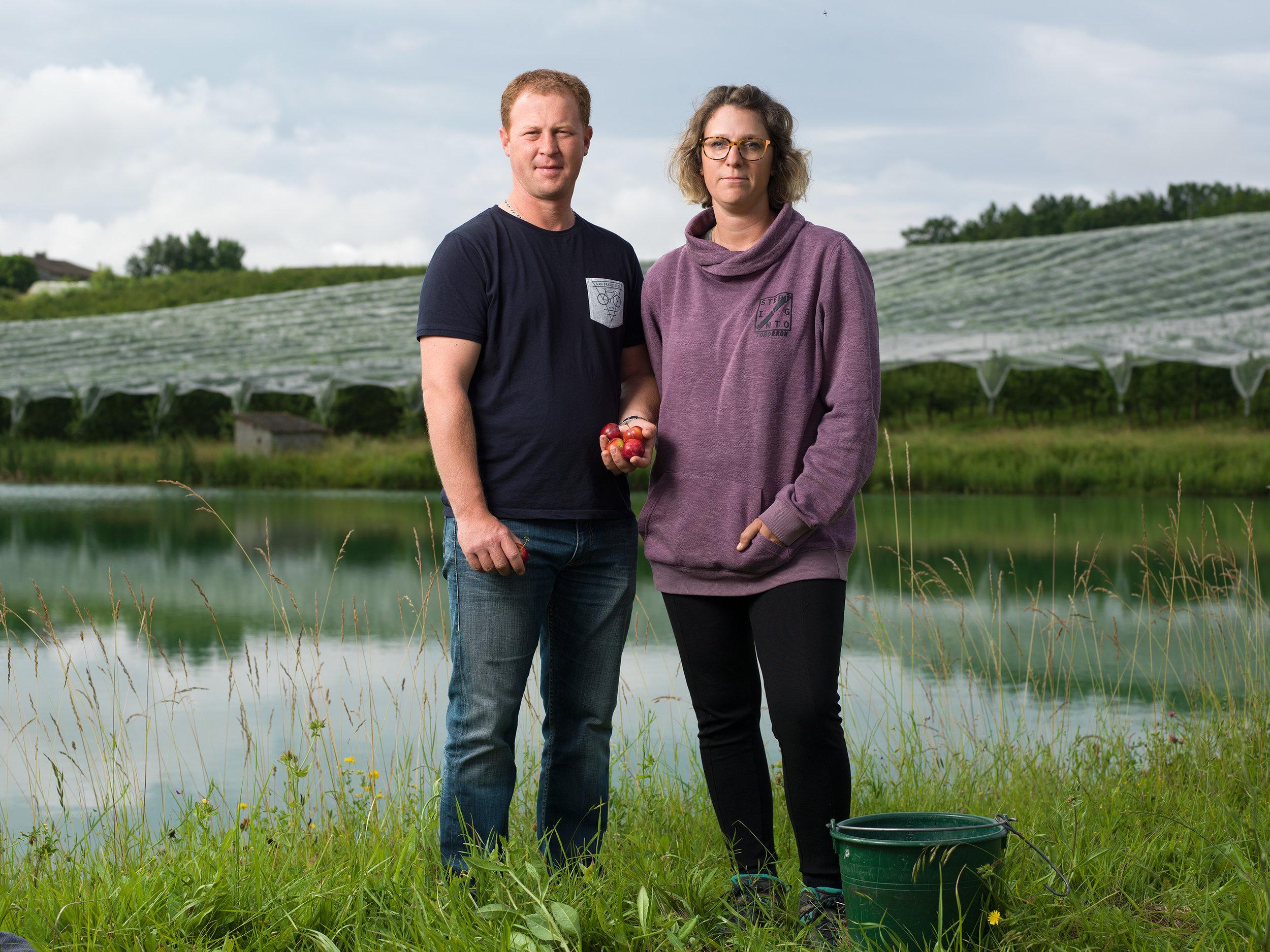 Ci-dessus, un lac de rétention pompé en hiver et diffusé en été en goutte-à-goutte pour économiser jusqu'à 30% d'eau.