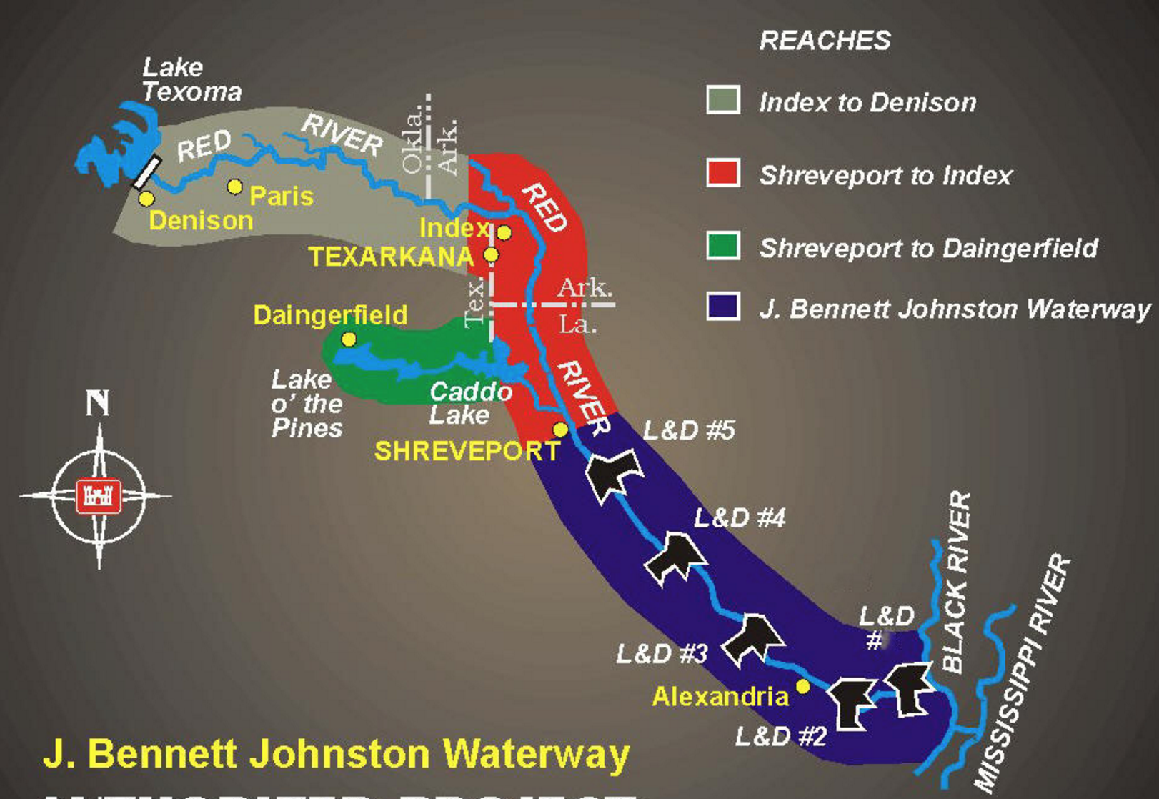 Red River Waterway Realignment Project    J. Bennett Johnston Waterway  . Digital image.   US Army Corps of Engineers Vicksburg Division  . US Army Corps of Engineers, n.d. Web.