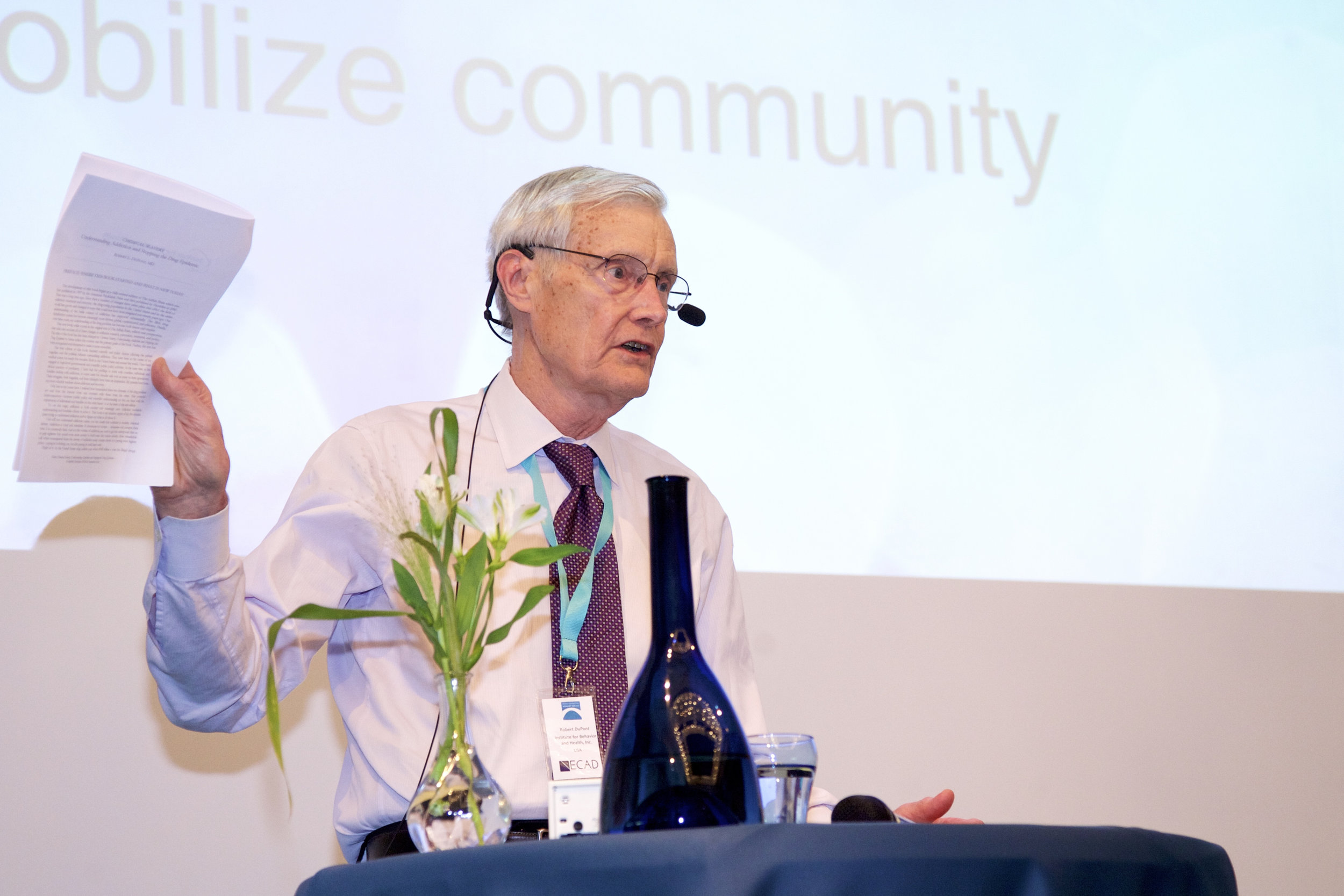 Robert L. DuPont, MD at 2018 World Forum, photo credit: Christoffer Bergström
