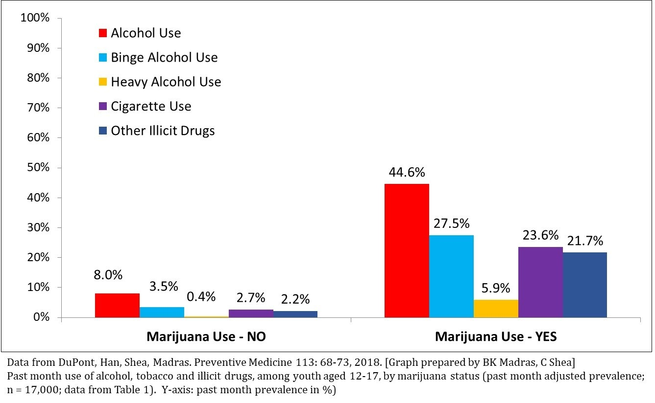 Figure 1. Past Month Use of Other Drugs, if Marijuana is Used, Ages 12-17