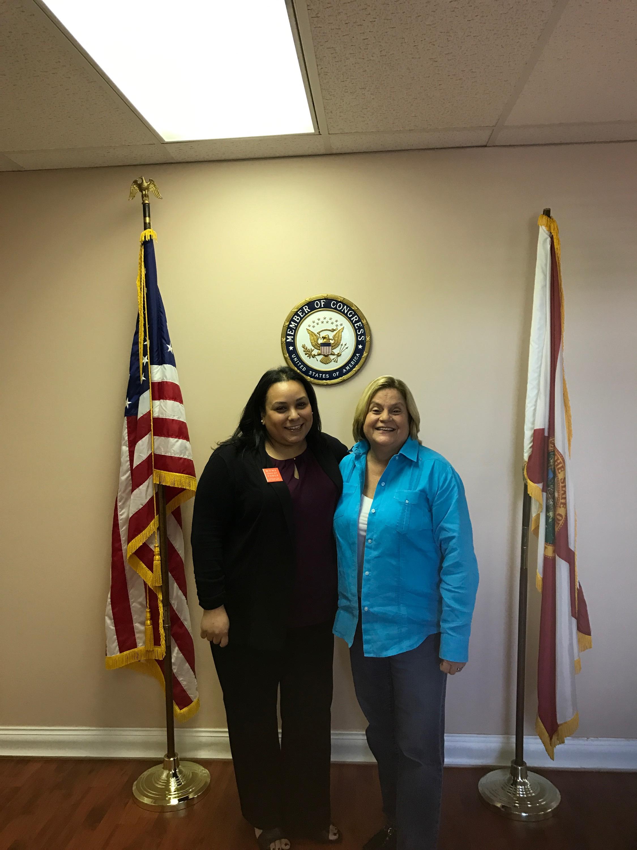 Karina (left) with United States Congresswoman Ileana Ros-Lehtinen (right)