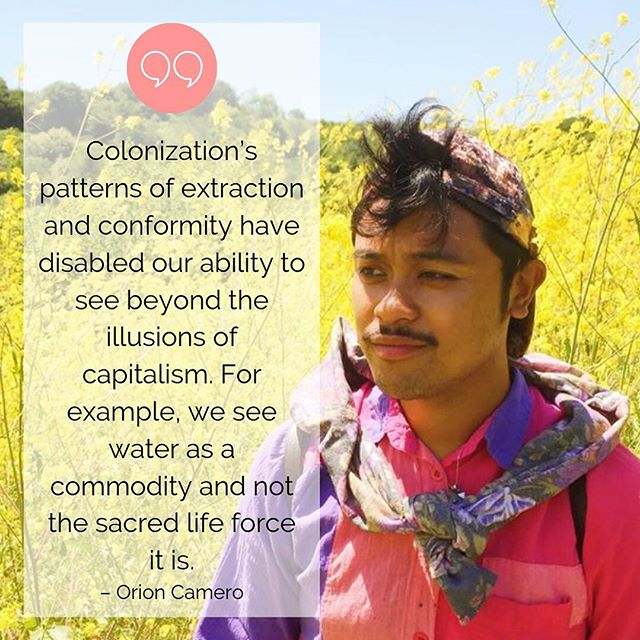 """Climate crises impact people from a wide range of communities, ancestries, and histories. To combat the crises, we must create space to hear a myriad of diverse perspectives or else solutions will fail to meet nuanced and complex realities. Orion Camero, a queer Filipinx visual educator and community organizer, takes the time and effort to unlearn the ways of thinking passed down to them by centuries of colonization. In doing so, he has discovered the power and gender fluidity of his ancestors → • """"For me as someone who is Filipinx, I've been looking into ancestral histories and learning about the pre-colonial indigenous people of the Philippines, who were gender transcendent and able to see the harmonious connections between feminine and masculine energies. Colonization demonized and disrupted those cultures of being. Queer people have the historical trauma and vantage point to see and fill in the gaps of disconnection that modern society has enabled. In the context of climate change, queer and trans communities have an opportunity to bring light to those conversations and offer a perspective of connection that others can't see. We need complex perspectives."""" – Orion Camero • Hear Orion and four other queer and trans climate activists discuss these intersections of queer and trans liberation and climate justice in our new listening series, In Conversation: A Listening Series on Climate Justice & Collective Liberation. Listen through the link in our bio, as well as Spotify and Apple Music! • Want to support Orion's work? Orion is currently fundraising to build out a website for the California Alloeory Project, get a tour vehicle to do educational storytelling, and develop the process of completing the third and final epic mega-graphic depicting climate issues statewide. If you are interested in getting involved, they'd be happy if you reach out to them with a message. To support and keep up with their work, feel free to follow them on Instagram or Venmo them resourc"""