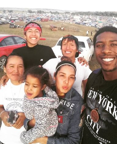 Danny with family and friends at the Standing Rock camp.
