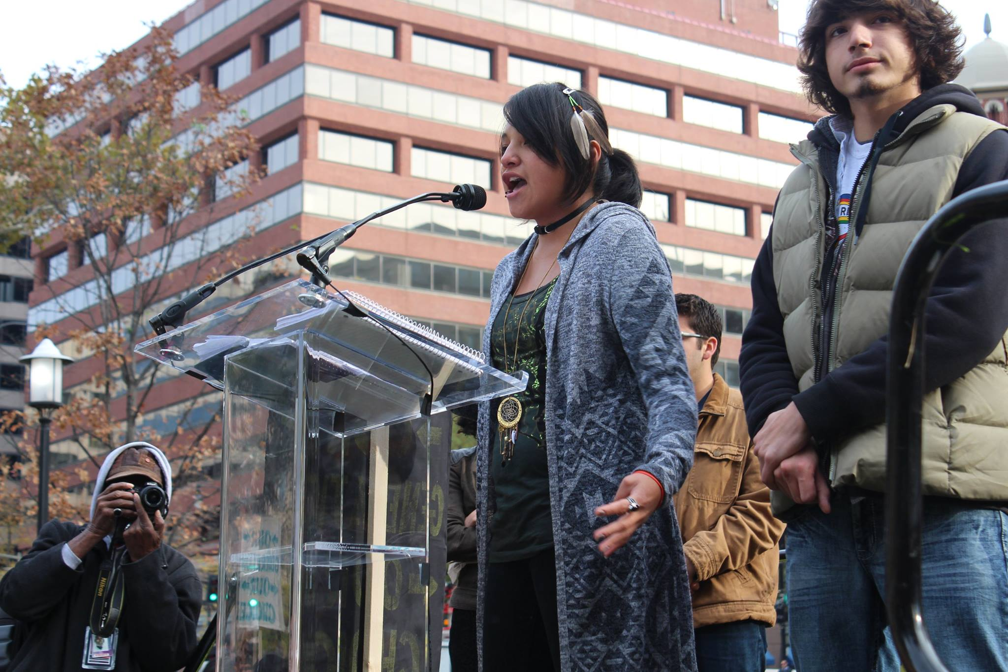 Jasilyn speaking at a protest.