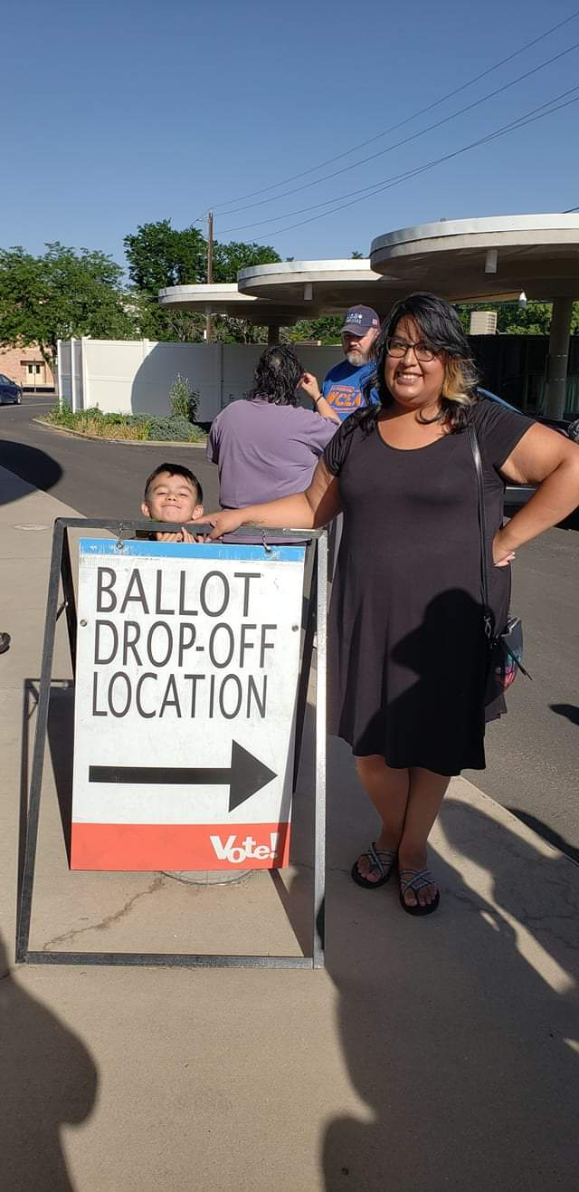 Patricia going to vote with her son, Diego.